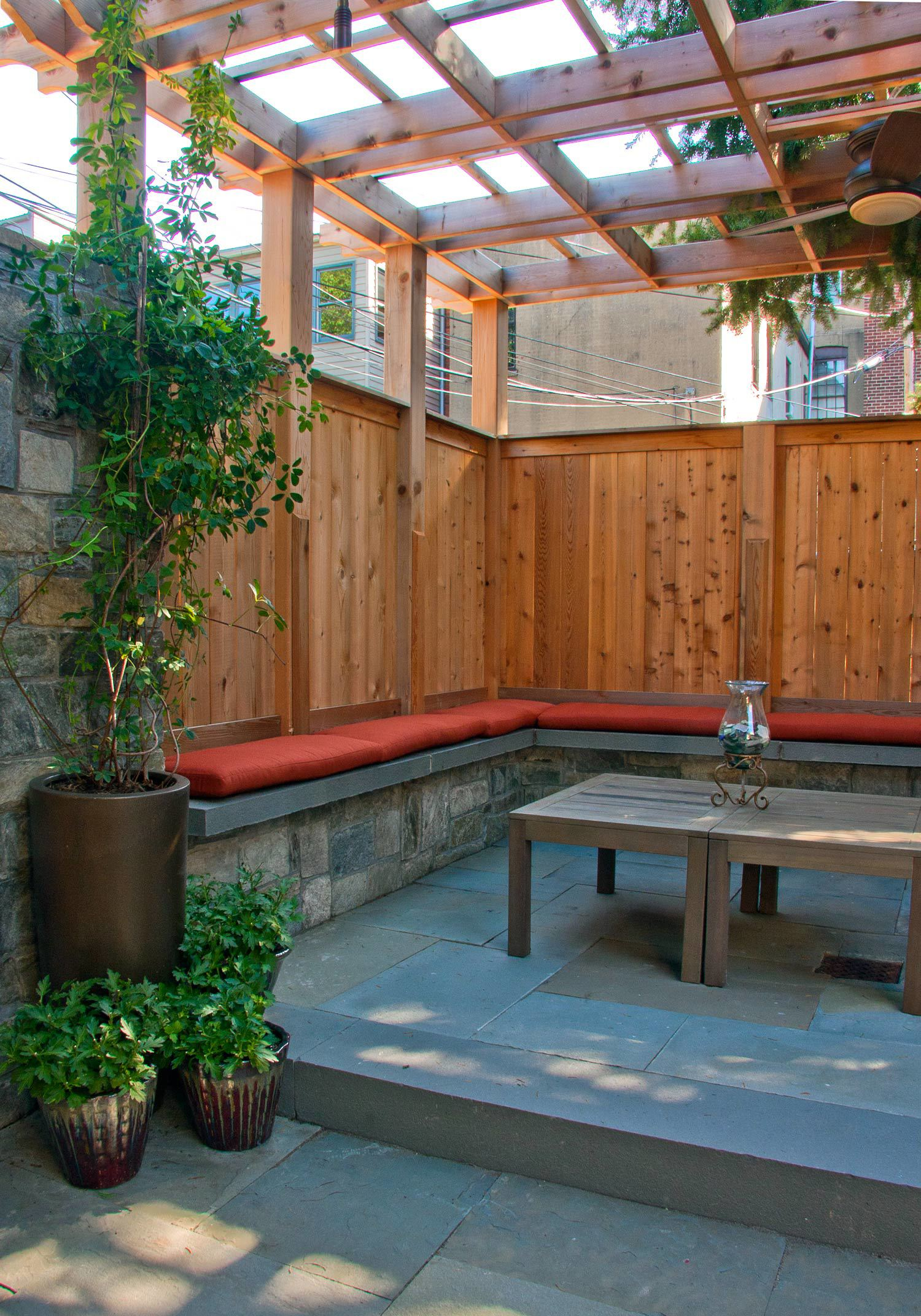 Project Location:  Washington, DC (Capitol Hill)  Completion:  Spring 2012  General Contractor:  Redux Garden & Home  Primary Material Palette:  Carderock stone, western red cedar, bluestone, granite cobbles  Photos By:  George Brown