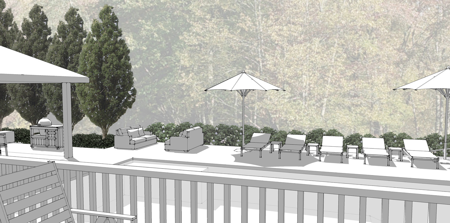 Project Location: Great Falls, VA  Project Type: Single Family Residential  Completion: In-Progress  Design Elements: Two design concepts including a new backyard pool, deck, dining area, grill space, and front entry walkway  Drawings By: Moody Landscape Architecture