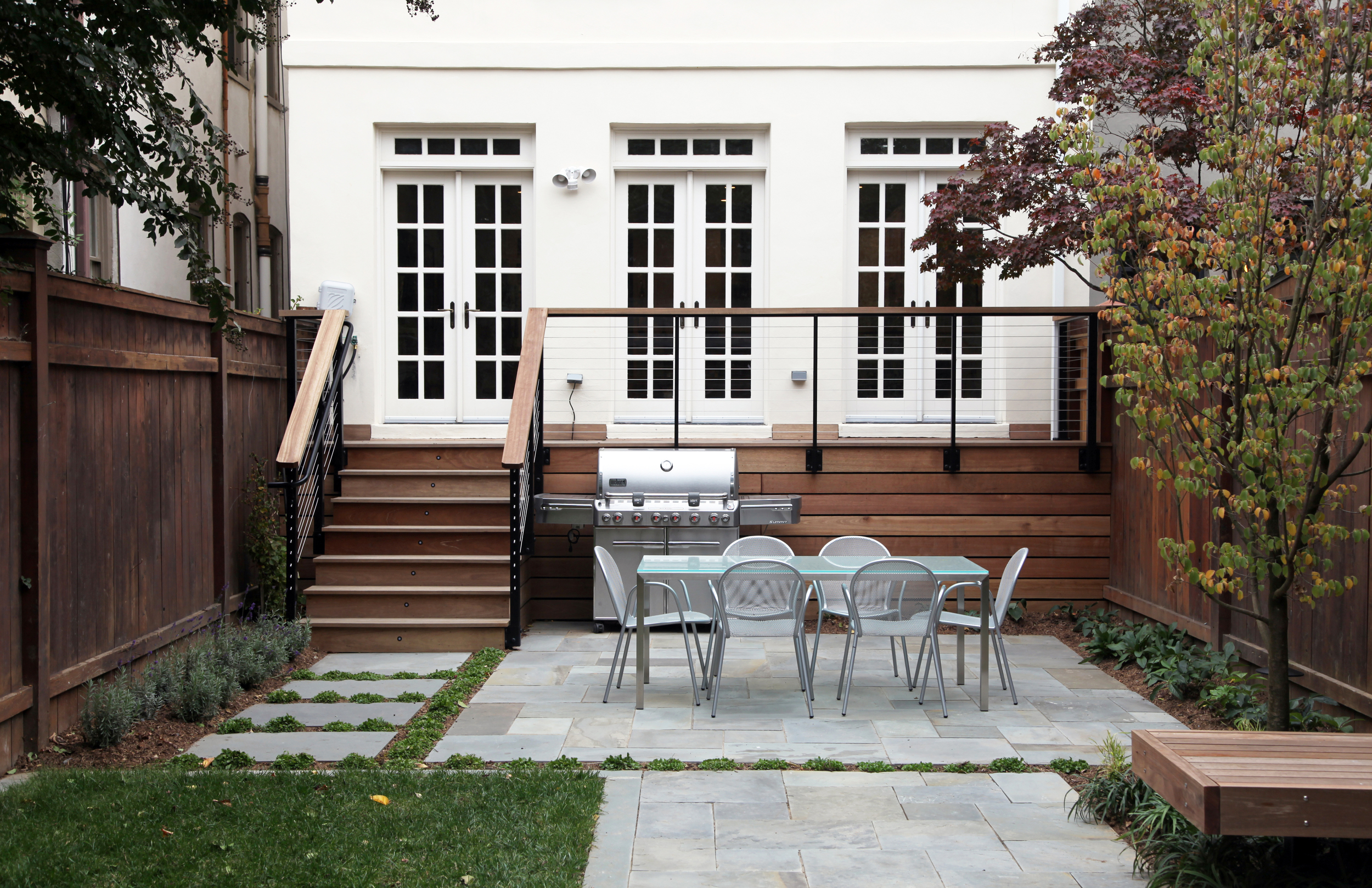Project Location:  Washington, DC (Capitol Hill)    Completion: Fall 2014    General Contractor: Denchfield Landscaping   Primary Material Palette:  full range natural cleft bluestone,  mahogany, corten steel    Photos By: Moody Landscape Architecture (unless noted otherwise)