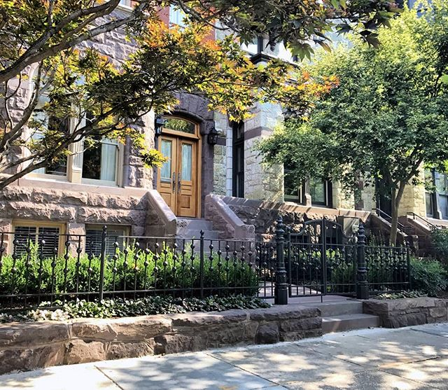 New sandstone garden wall to match historic facade, new entry steps, custom metal work, new lead walk, and dense planting make this townhome entry sing. Subtle but articulate additions that enrich the landscape experience. Swipe to see before.