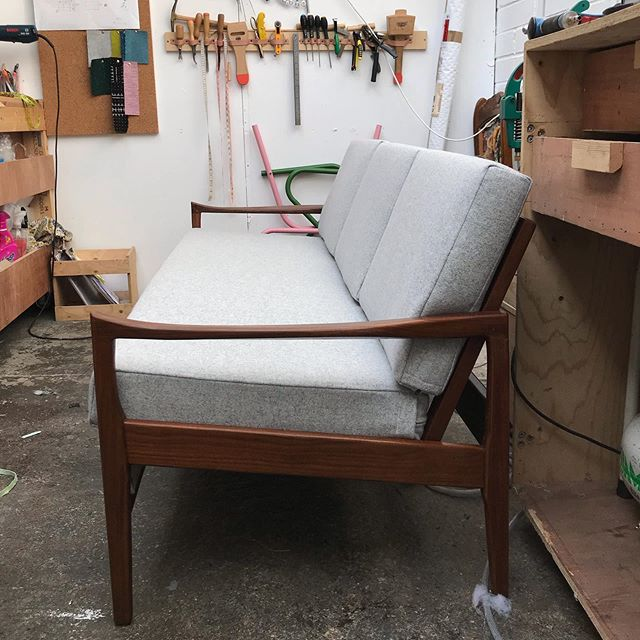 Whole lot of cushions going on this past week... this revamped Cintique loungemaster is off to its new lovely home with the guys from @archrivals_e7 . If you've not been there to fill your boots with their amazing grub get on ya bike! It's sooooo good. Upholstered in a @camira wool it's a delightful soft finish. Love it!