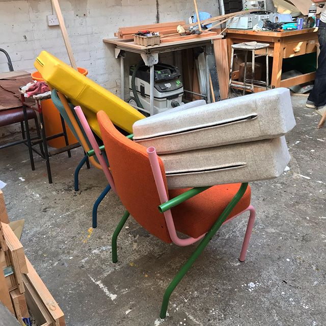 So here is a little insight into the day before the open day. We were desperately running around trying to finish the various chairs Roland and myself have designed. I'll post some pics of them finished this week for anyone that missed them on my story. But if you dig colour... hopefully you'll like them as much as we do😬