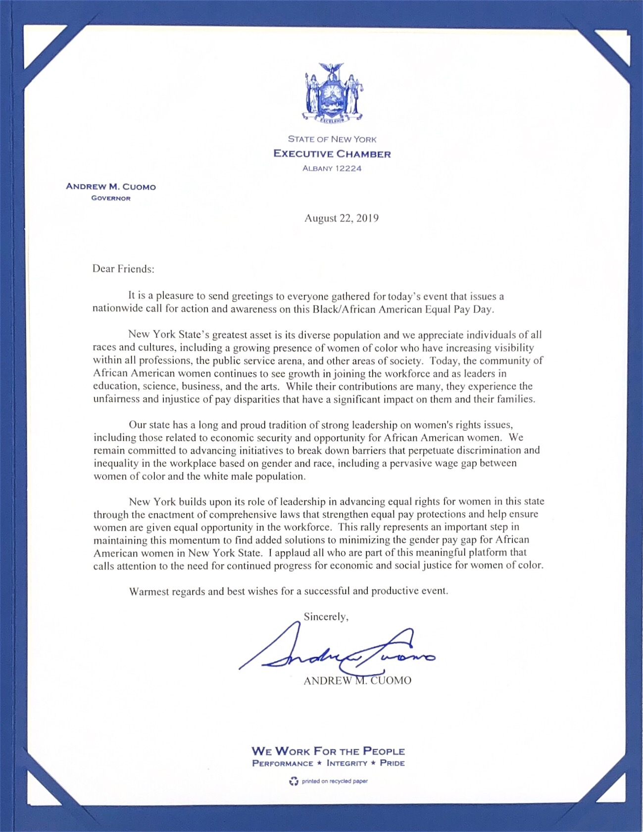 "LETTER FROM THE GOVERNOR   ""This rally represents an important step… to find added solutions to minimizing the gender pay gap for African American Women in New York State."" −Governor Andrew M. Cuomo signed August 22, 2019"