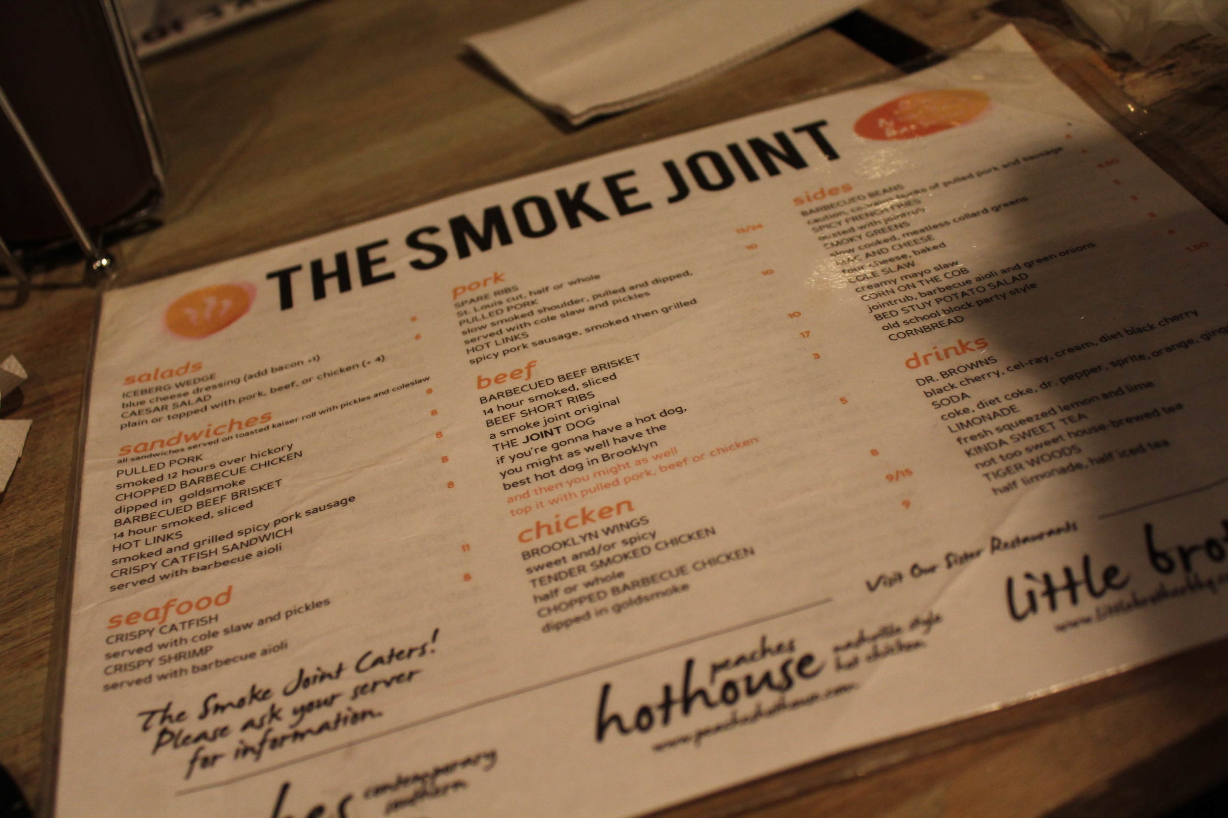 Smoke Joint Menu