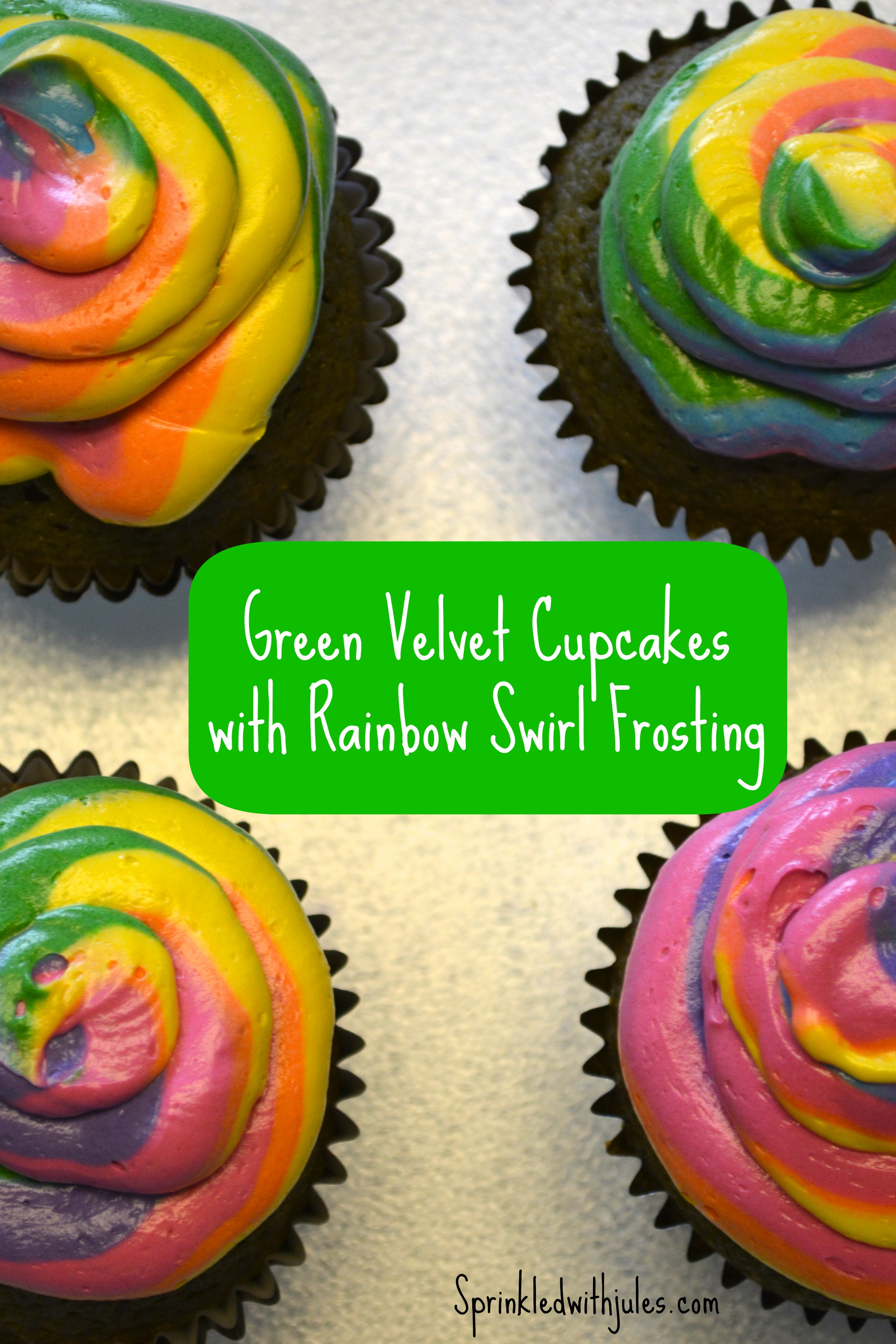Green Velvet Cupcakes with Rainbow Swirled Frosting