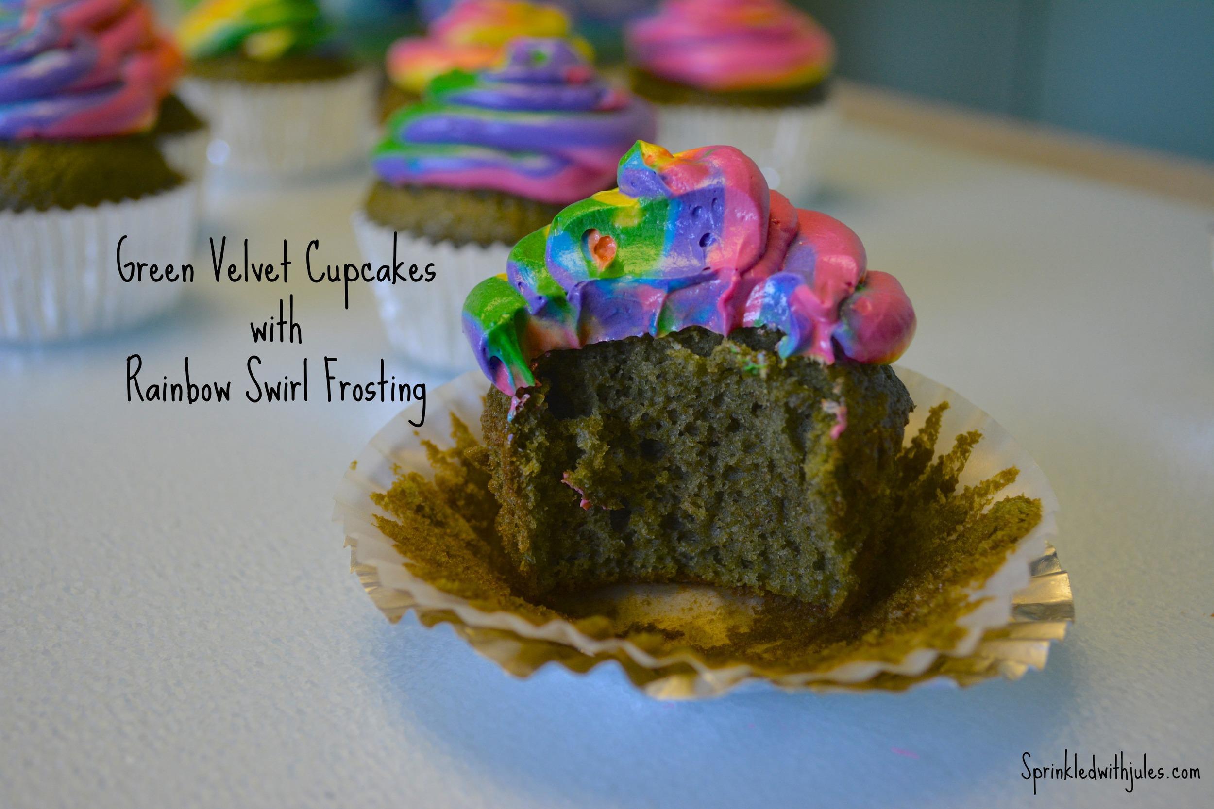 Green Velvet Cupcakes with Rainbow Swirl Frosting