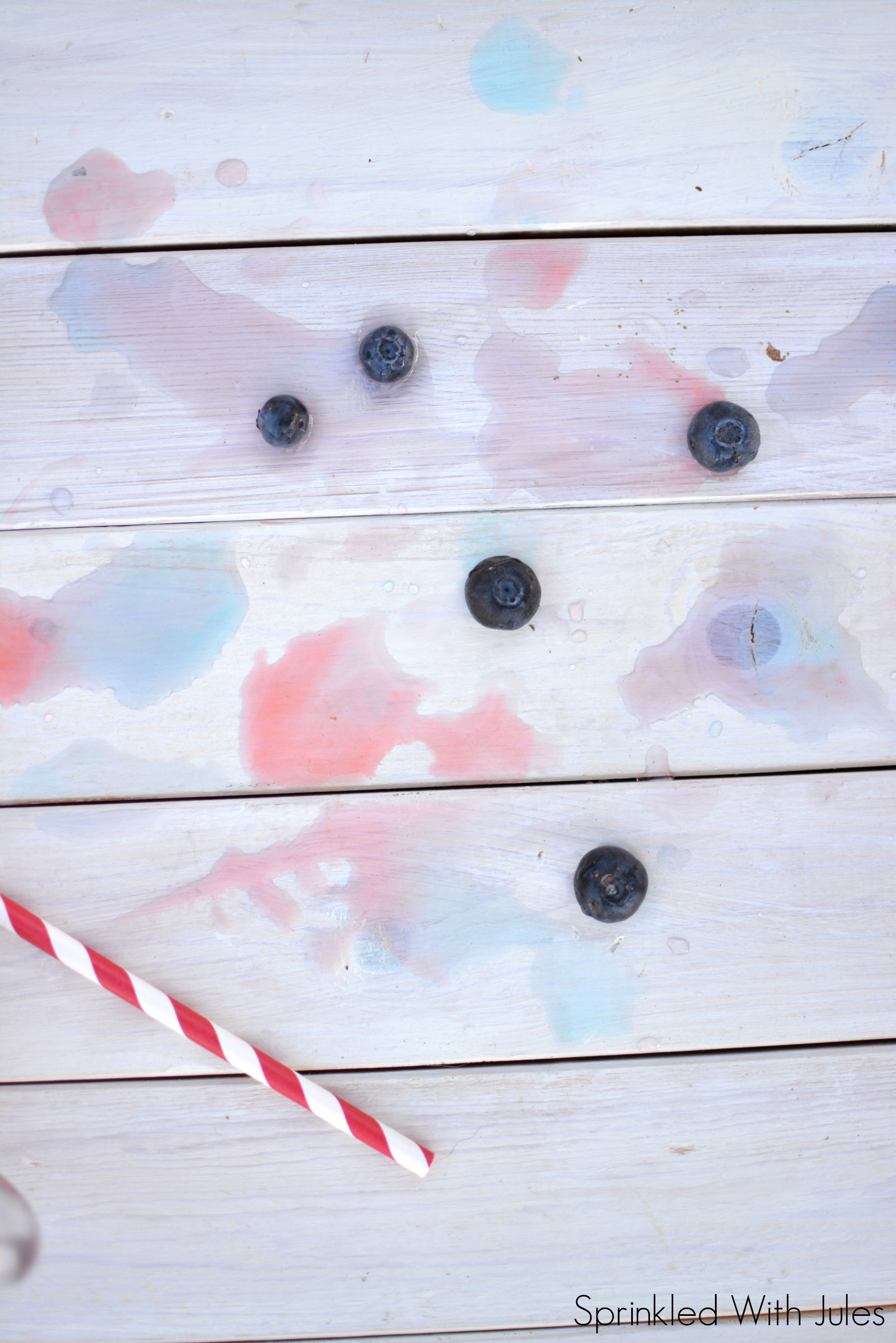 Red White and Blue Layered Ice Cubes / Sprinkled With Jules