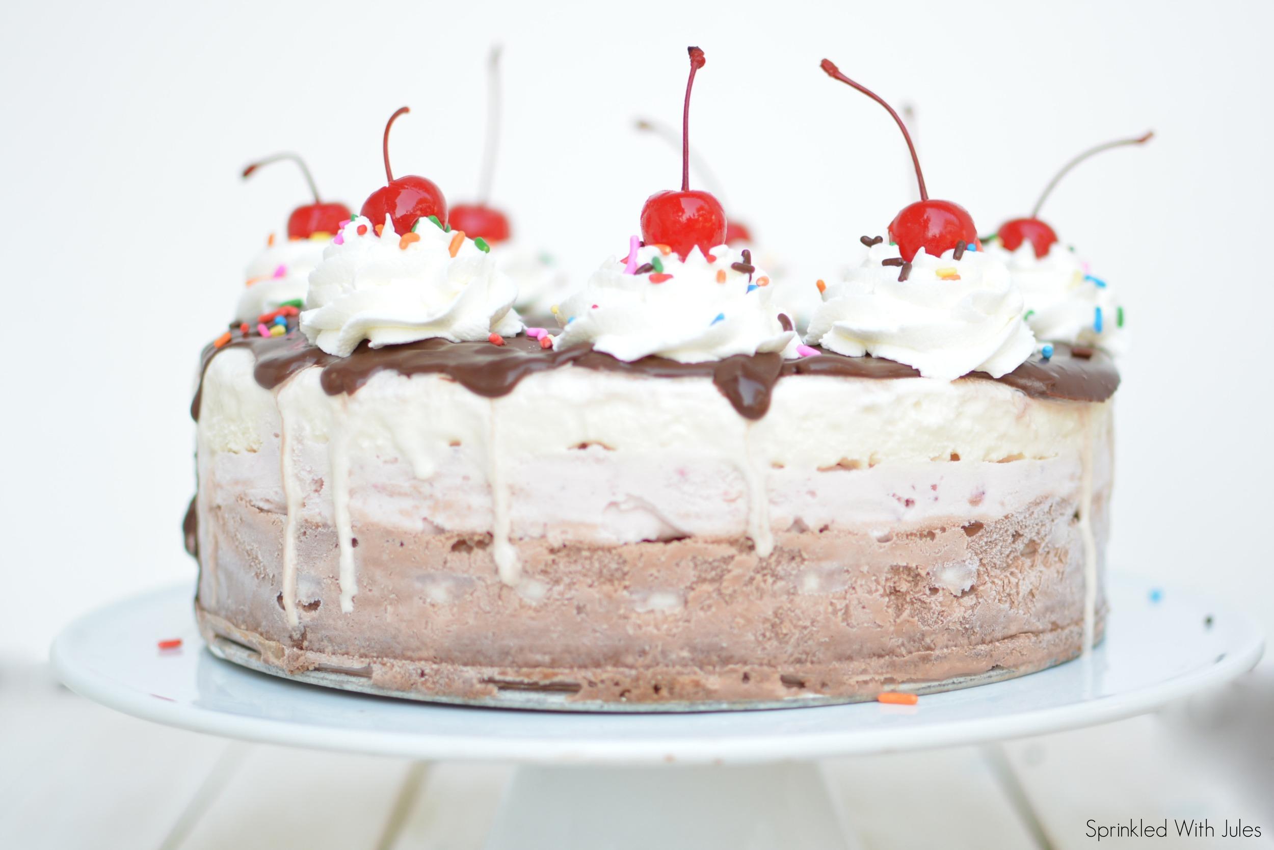 Banana Split Ice Cream Cake / Sprinkled With Jules
