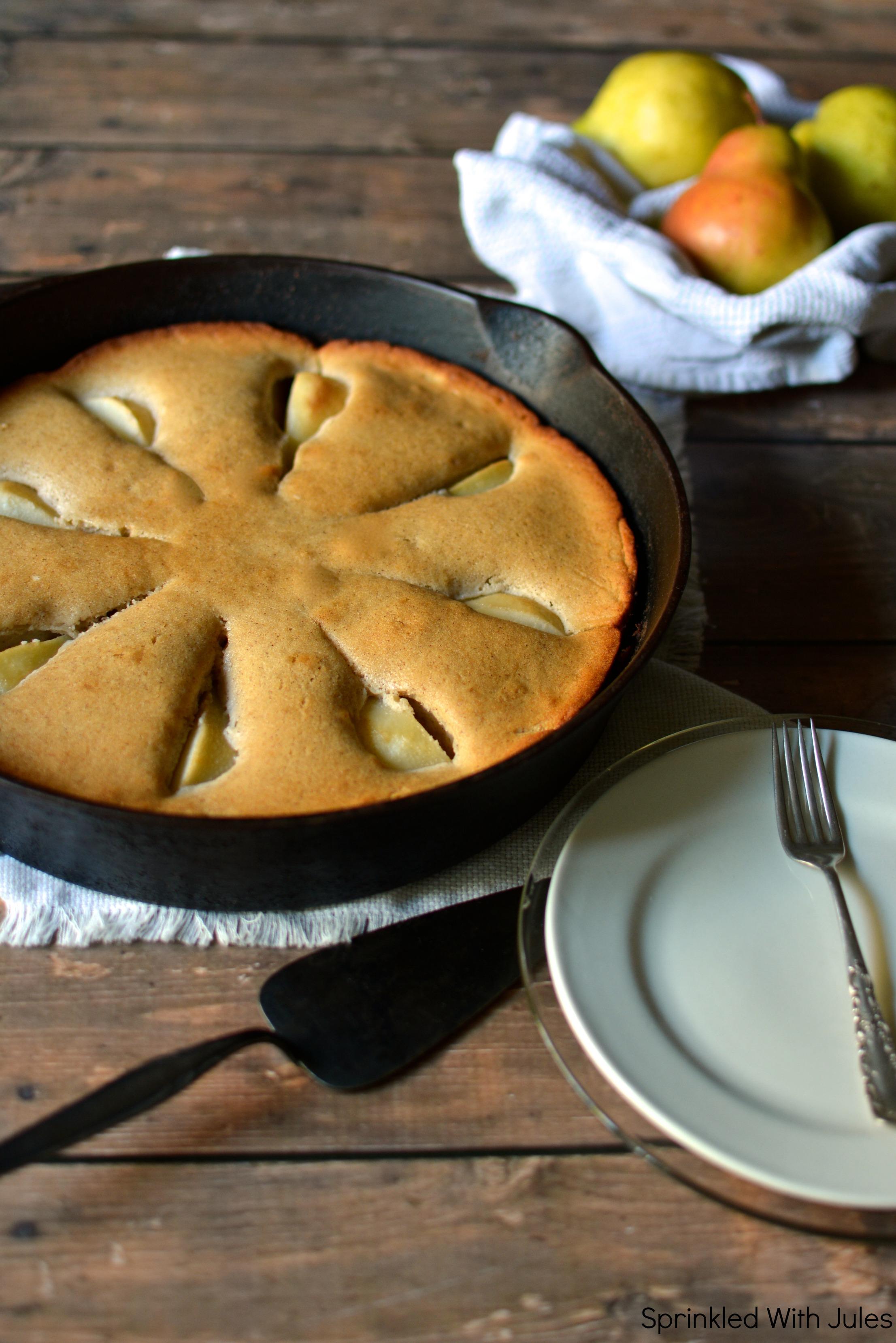 Skillet Cinnamon Pear Coffee Cake. Sprinkled With Jules