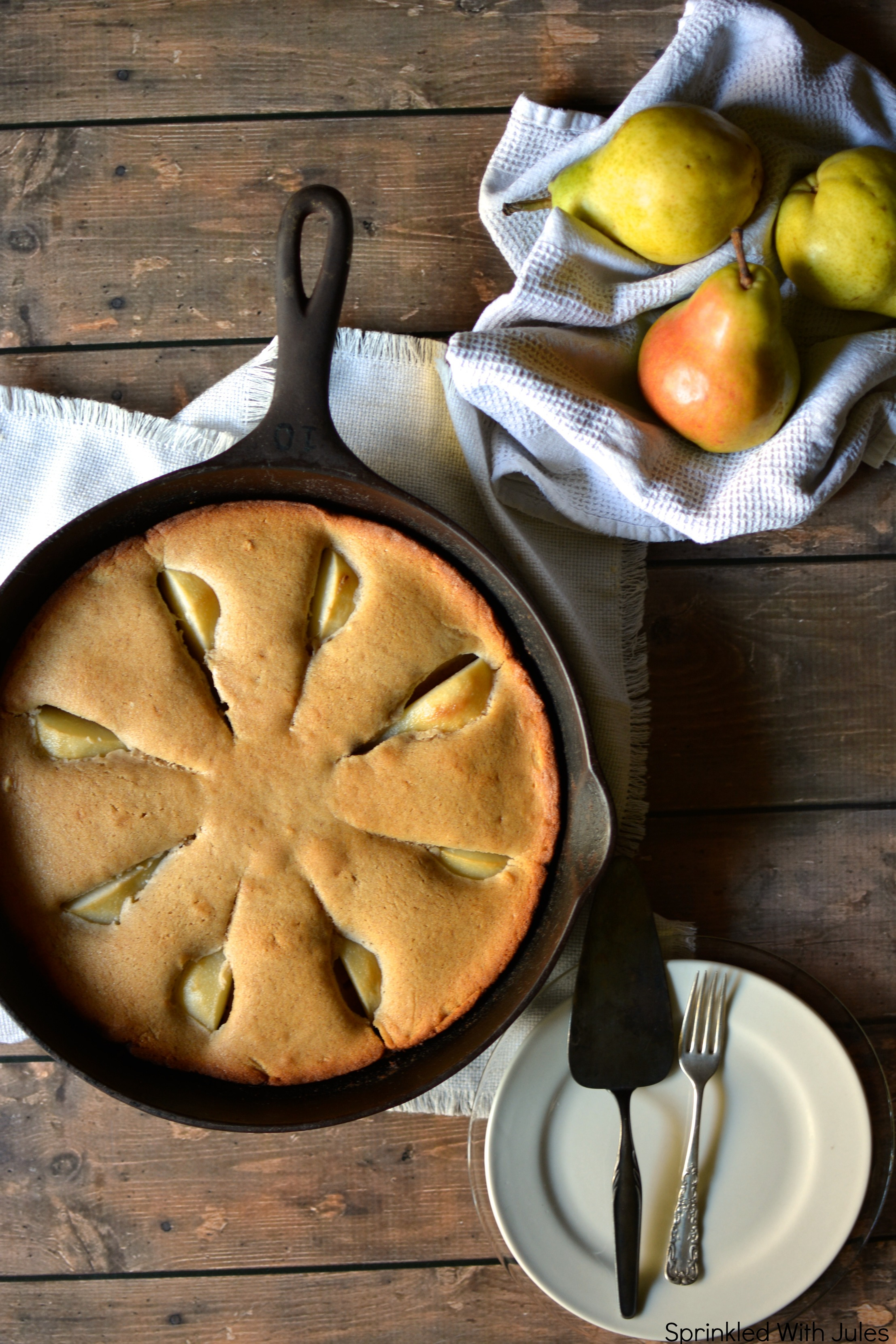 Skillet Cinnamon Pear Coffee Cake. / Sprinkled With Jules
