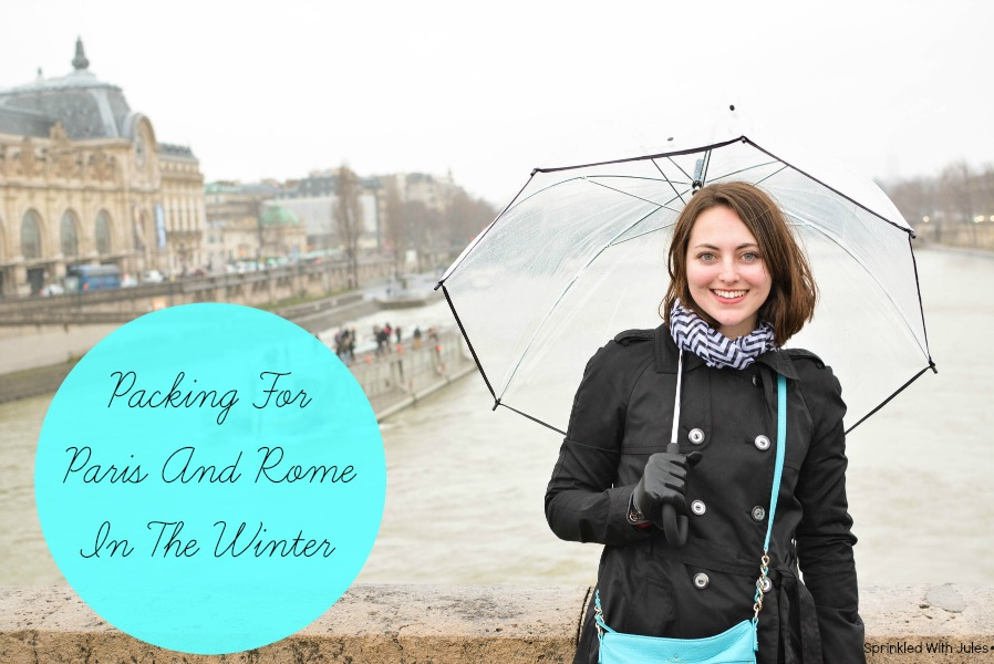 Packing for Paris and Rome in the winter. Carry-on essentials for long flights, and how to pack just a carry-on bag for 8 days in Europe. / Sprinkled With Jules