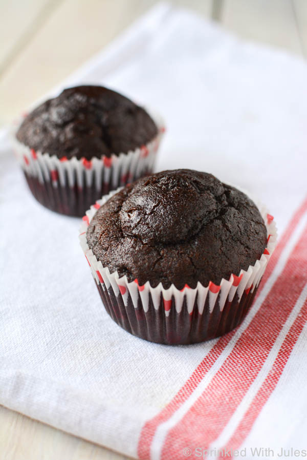 Chocolate Cupcakes for 2. This simple recipe just makes 2 cupcakes! The perfect small batch for chocolate cravings.  / Sprinkled With Jules