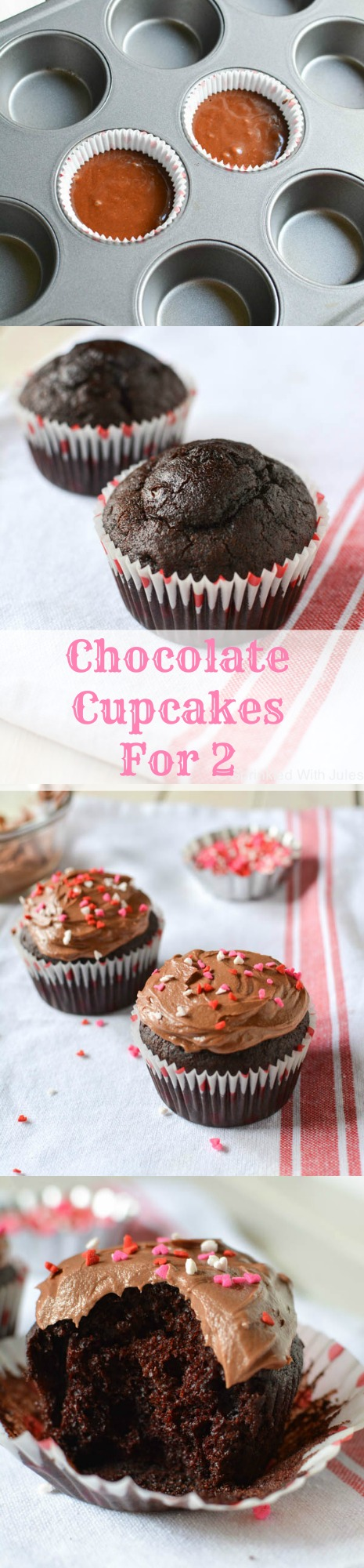 Chocolate Cupcakes for 2. This easy recipe makes only 2 cupcakes! Perfect for those chocolate cravings. / Sprinkled With Jules