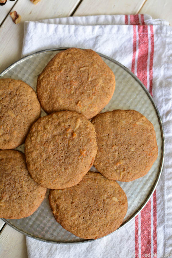 Carrot Cake Cookies with Cream Cheese Frosting. Soft and most, they taste just like carrot cake. / Sprinkled With Jules