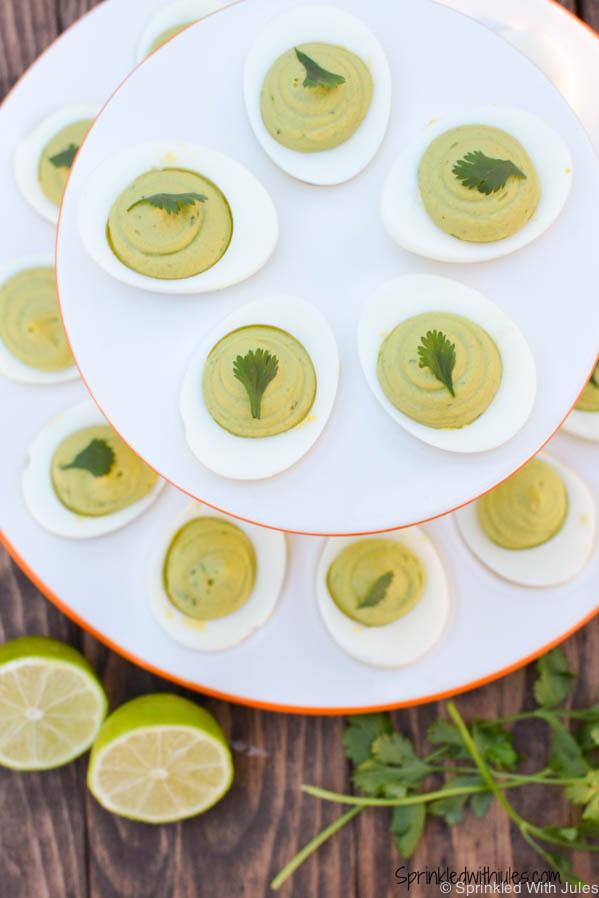 Avocado Cilantro Deviled Eggs