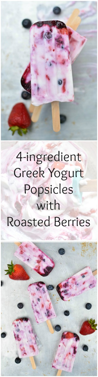 greek yogurt popsicles made with 4 ingredients and no sugar added!