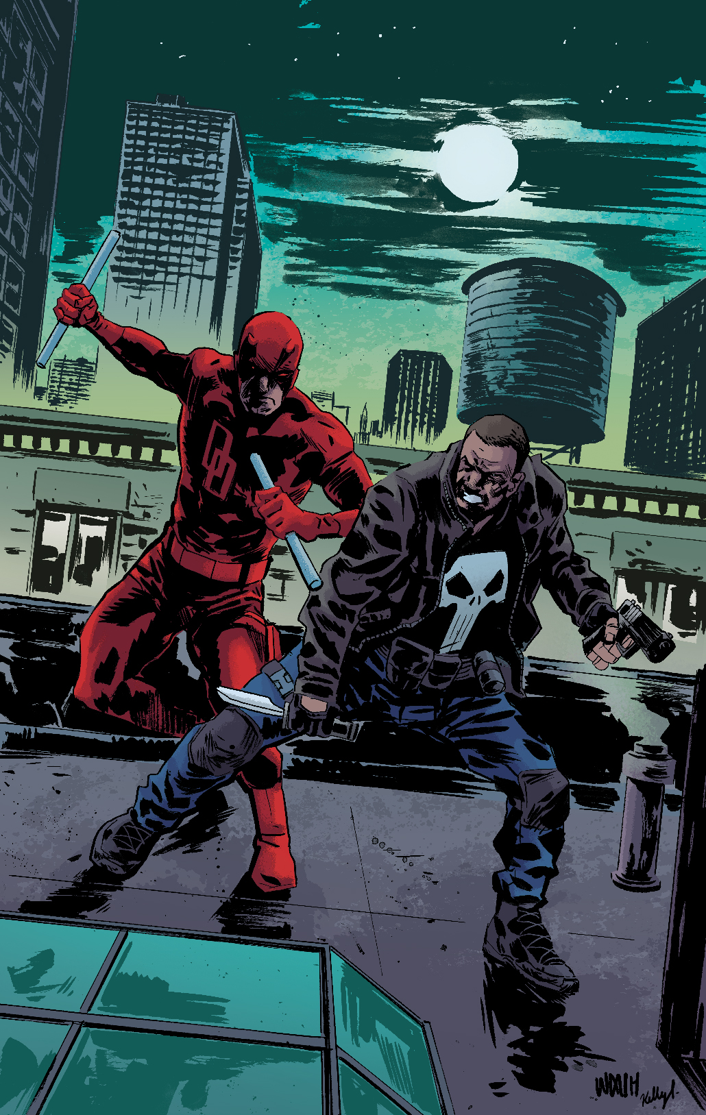 Daredevil and Punisher Pin-up by Michael Walsh// Colors by Kelly Fitzpatrick