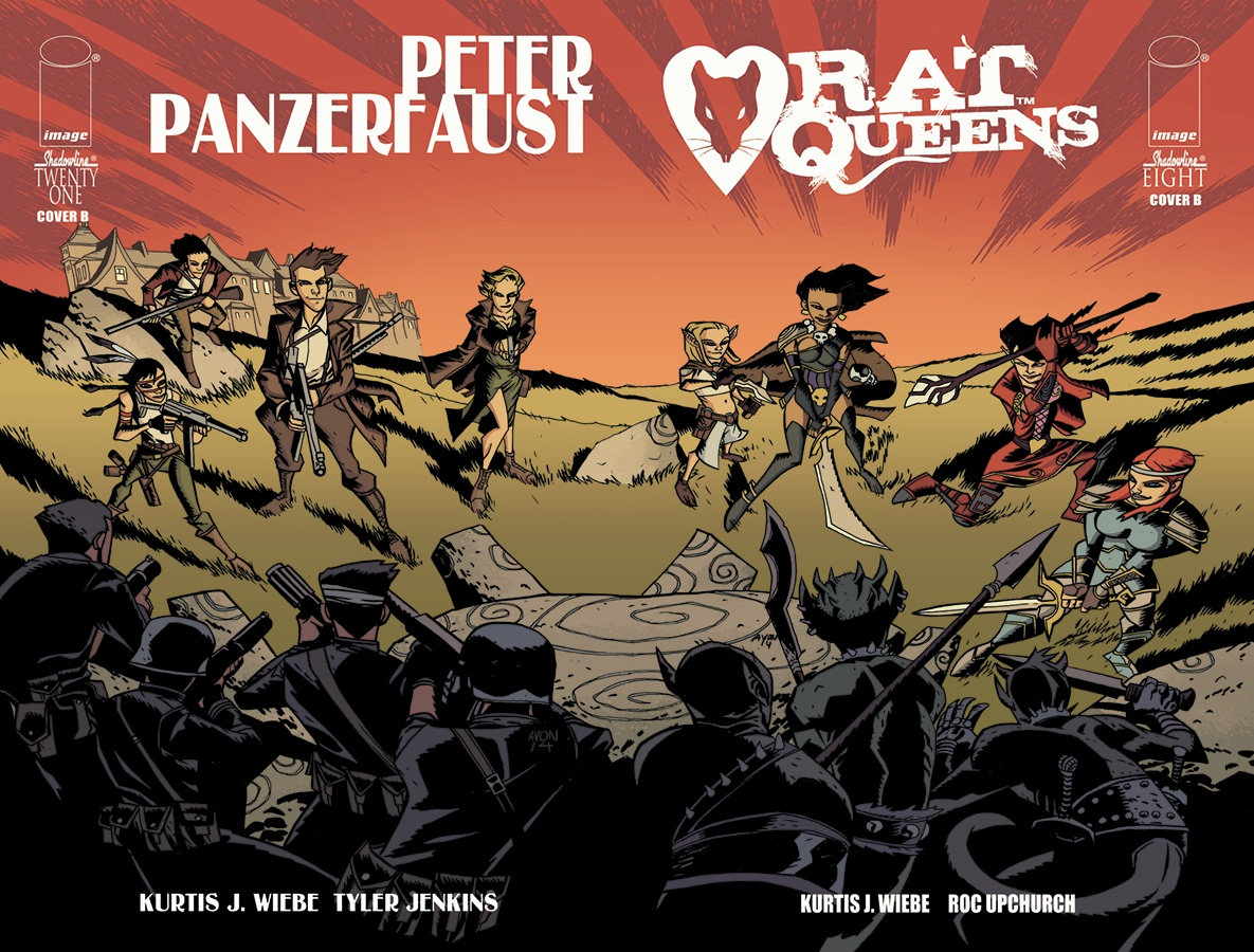 Variant Cover for Peter Panzerfaust 21 and Rat Queens 8. Art by Michael Avon Oeming/ Colors by Kelly Fitzpatrick    https://imagecomics.com/content/view/artists-from-rat-queens-and-peter-panzerfaust-swap-covers