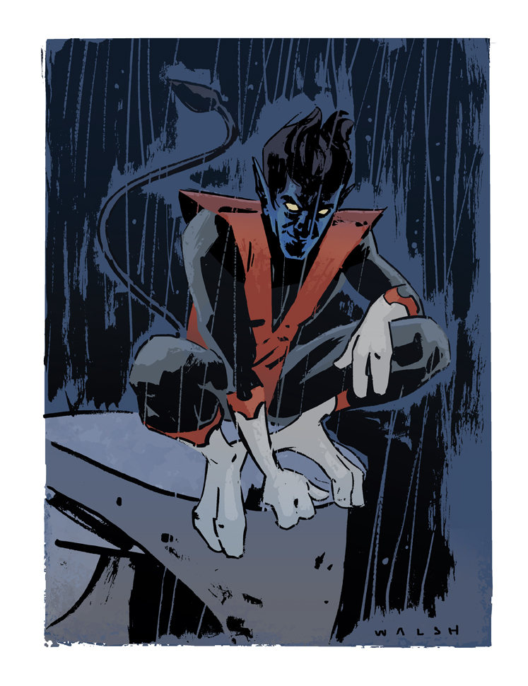 Nightcrawler illustration by Michael Walsh/ colors by Kelly Fitzpatrick    http://misterwalsh.tumblr.com /