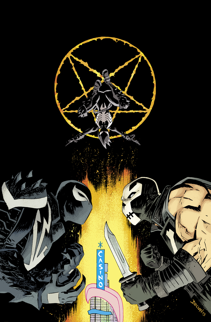 jordiecolorsthings :      dshalv :     Cover for VENOM # 42. Colours by @whoajordie     VENOM #42  CULLEN BUNN (W) JORGE COELHO (A) Cover by DECLAN SHALVEY • It's all out war… with Venom, Mania, Crossbones, the DOA, and… Mephisto? • But who's on whose side? • Mania's final fate is revealed! Will she keep the symbiote? • Is this the end of Venom's dance with the devil? Or just the beginning? 32 PGS./Rated T+ …$2.99      I love this cover because…MANIA!!!!!!!!!!!!