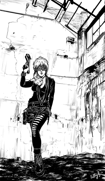 Girl w/ Gun- PSCS4    Needed to get this stereotype out of the way. Wanted to test digital inking again and try filling in a background. Had this sketch sitting around for months and I finally got it out of the way. Expect a lull here while I move internationally, visit another country, and finish up commissions.