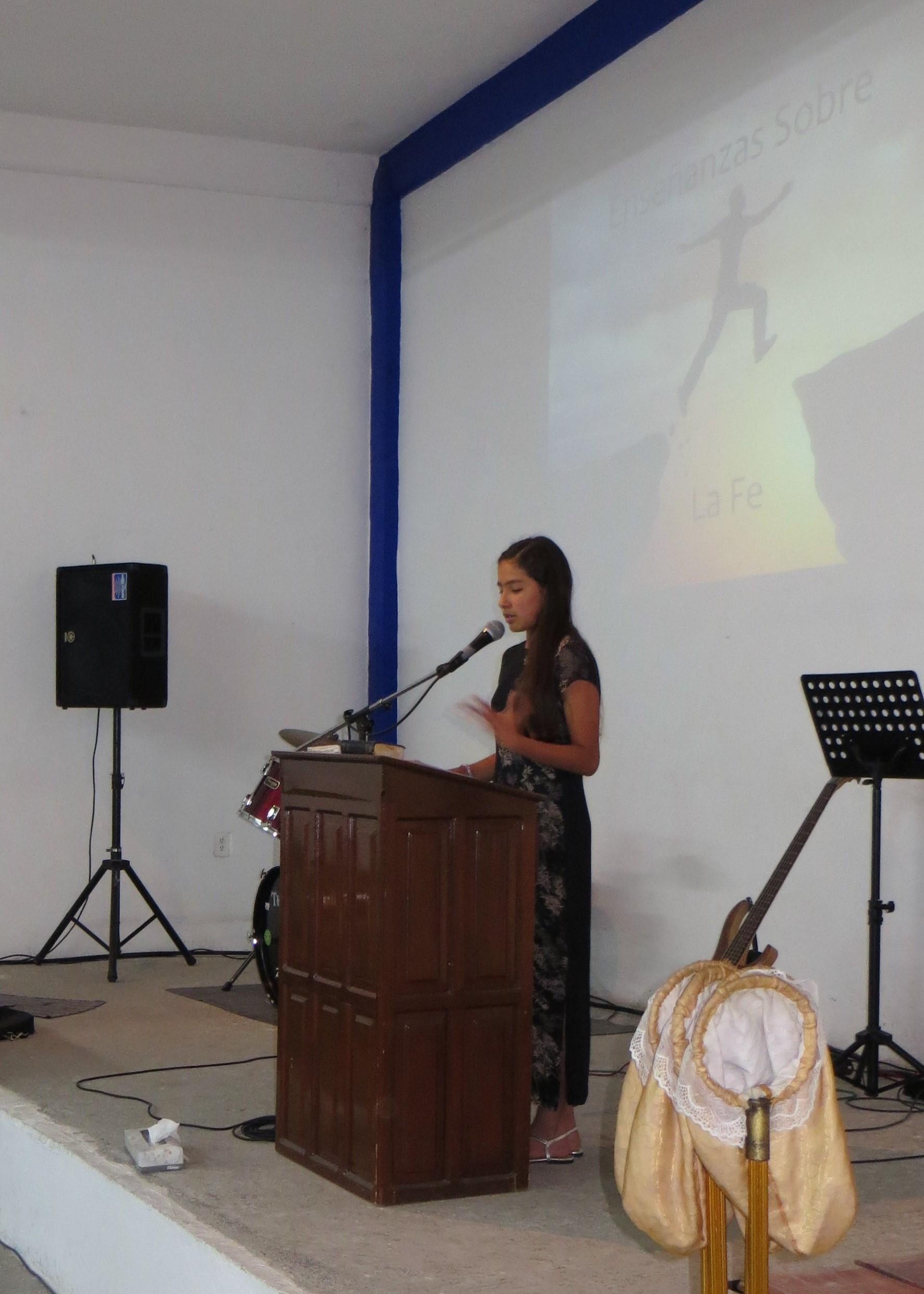 Kelly, 12, preaching her first sermon