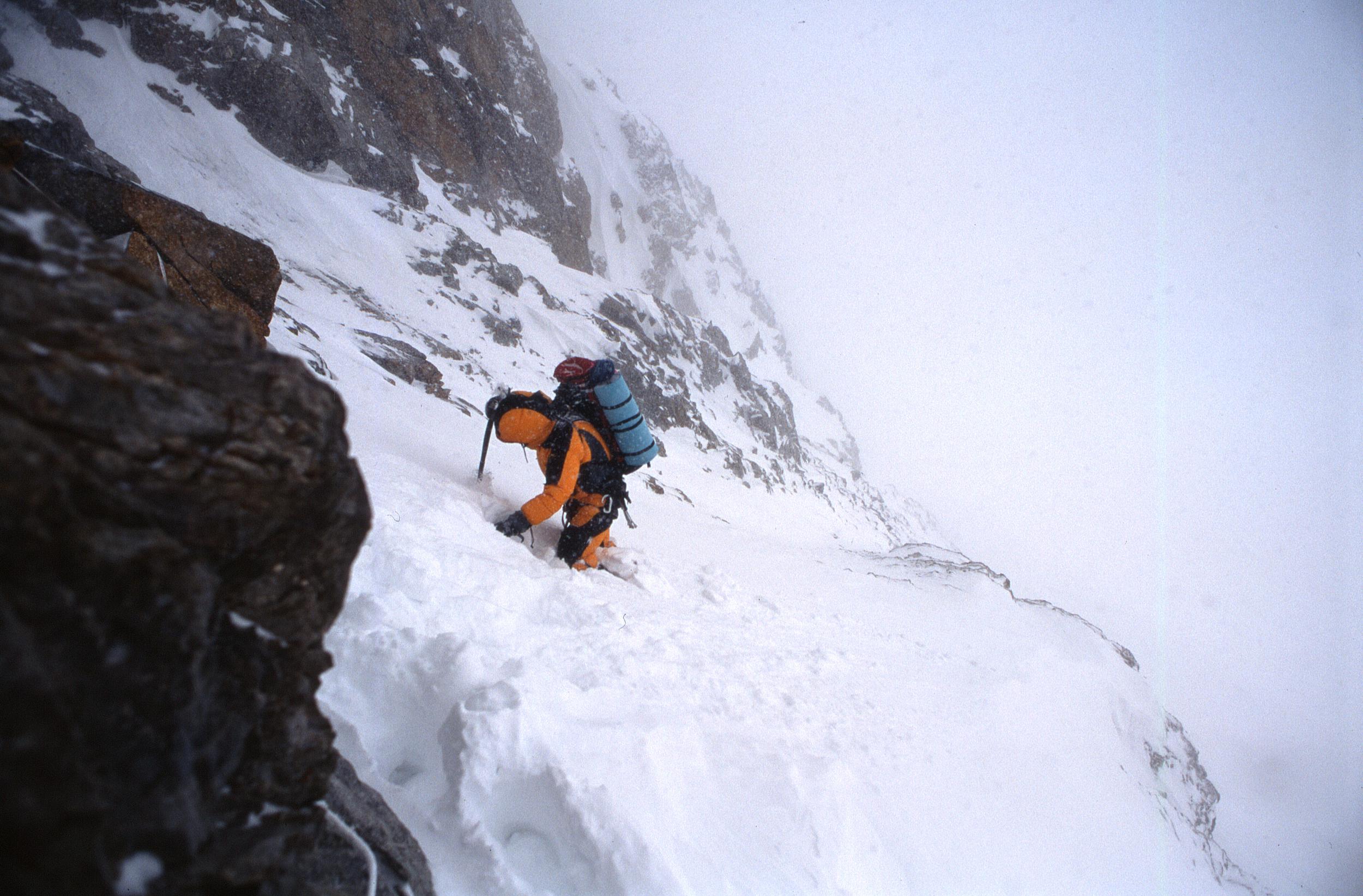 Epic retreat off the northwest ridge.