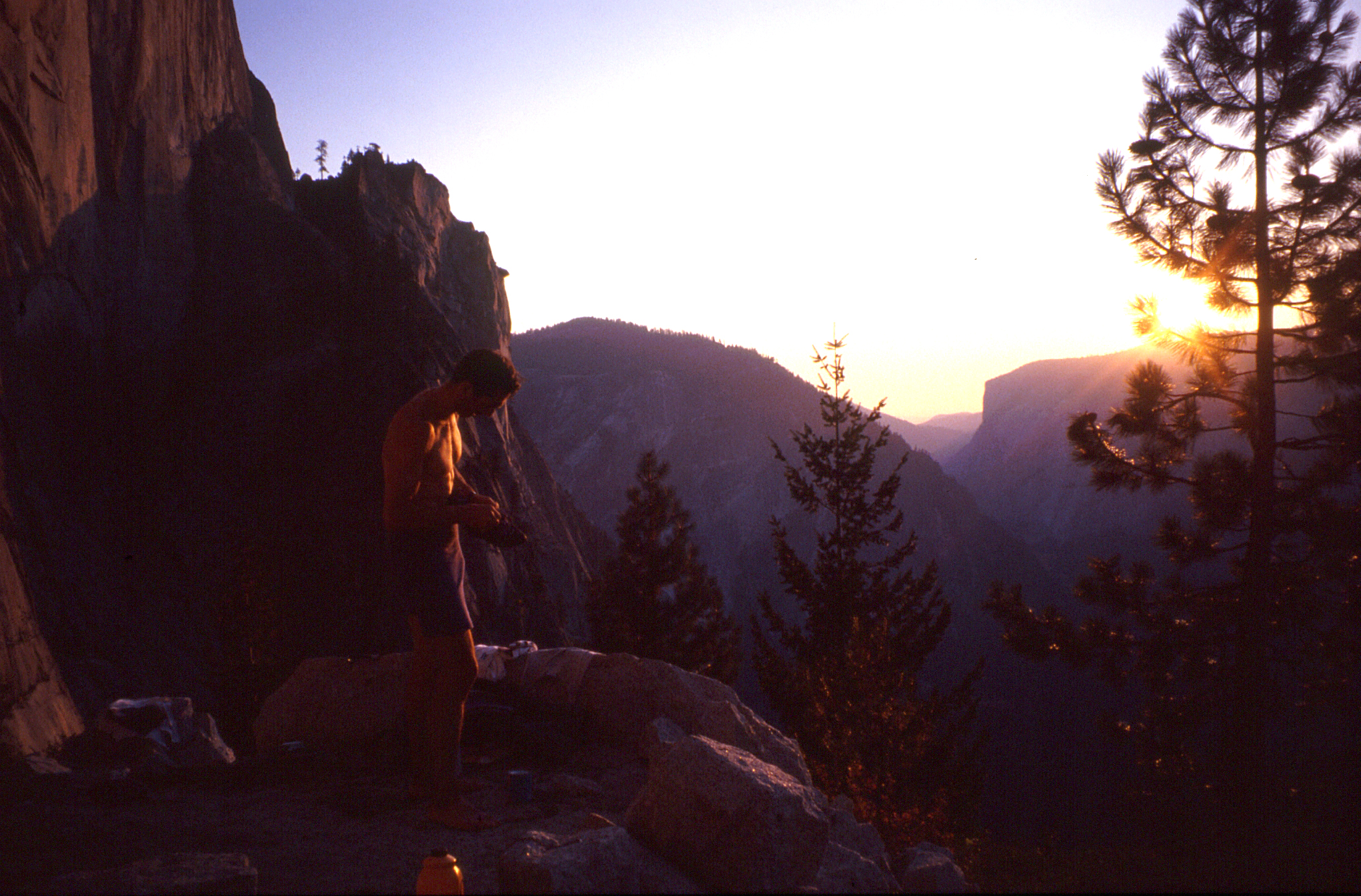 At the base of the northwest face of Half Dome prior to making a free ascent of the Regular Route, 1994.