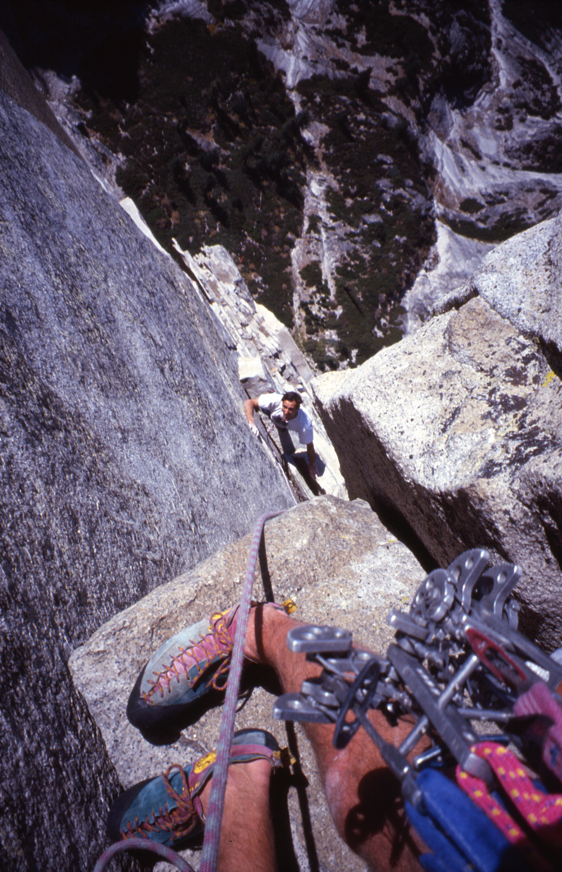 Looking down the Regular Route on the northwest face of Half Dome, 1994.