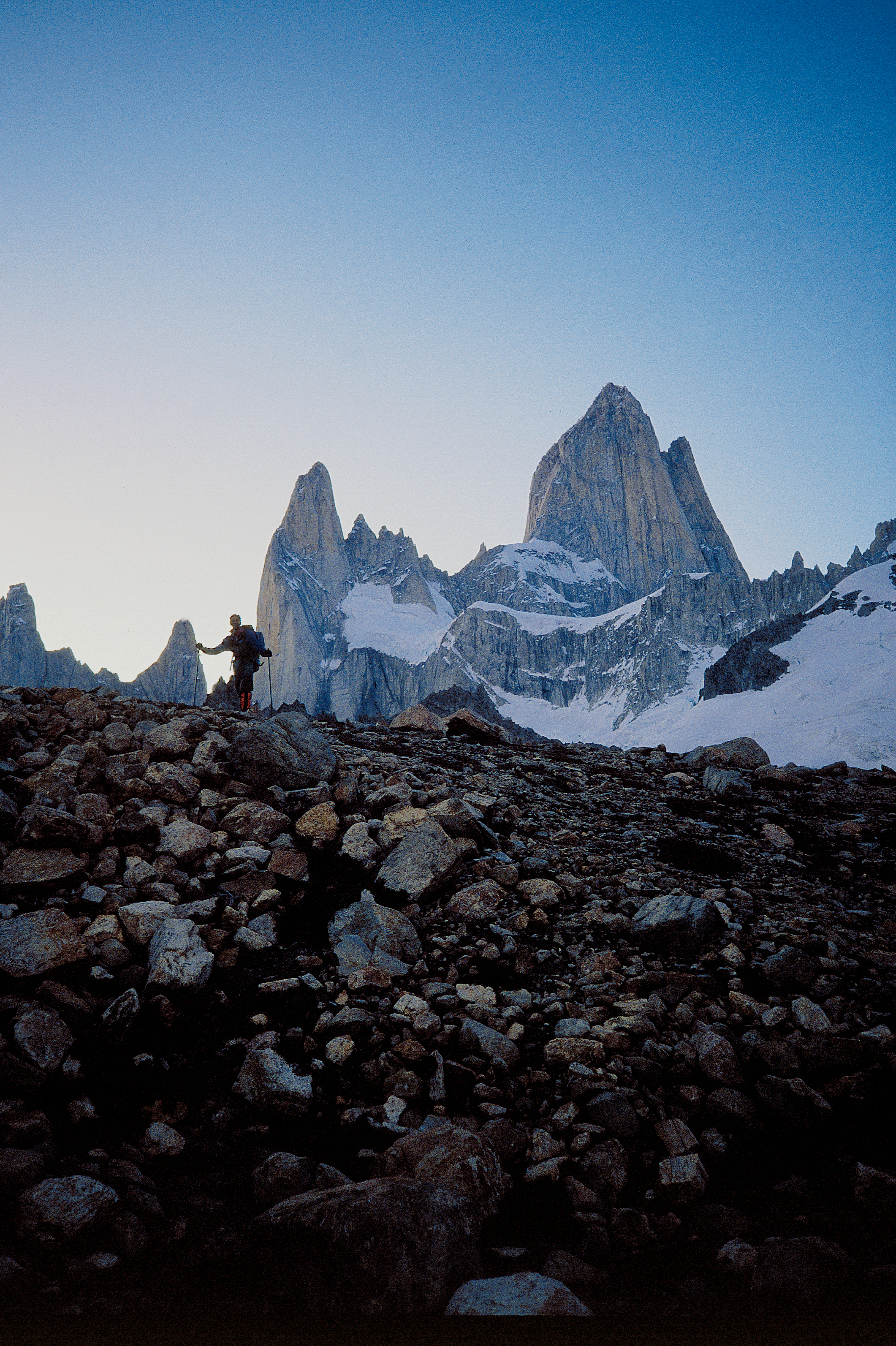 Beneath the awesome Fitz Roy after our ascent of the north pillar (right skyline).