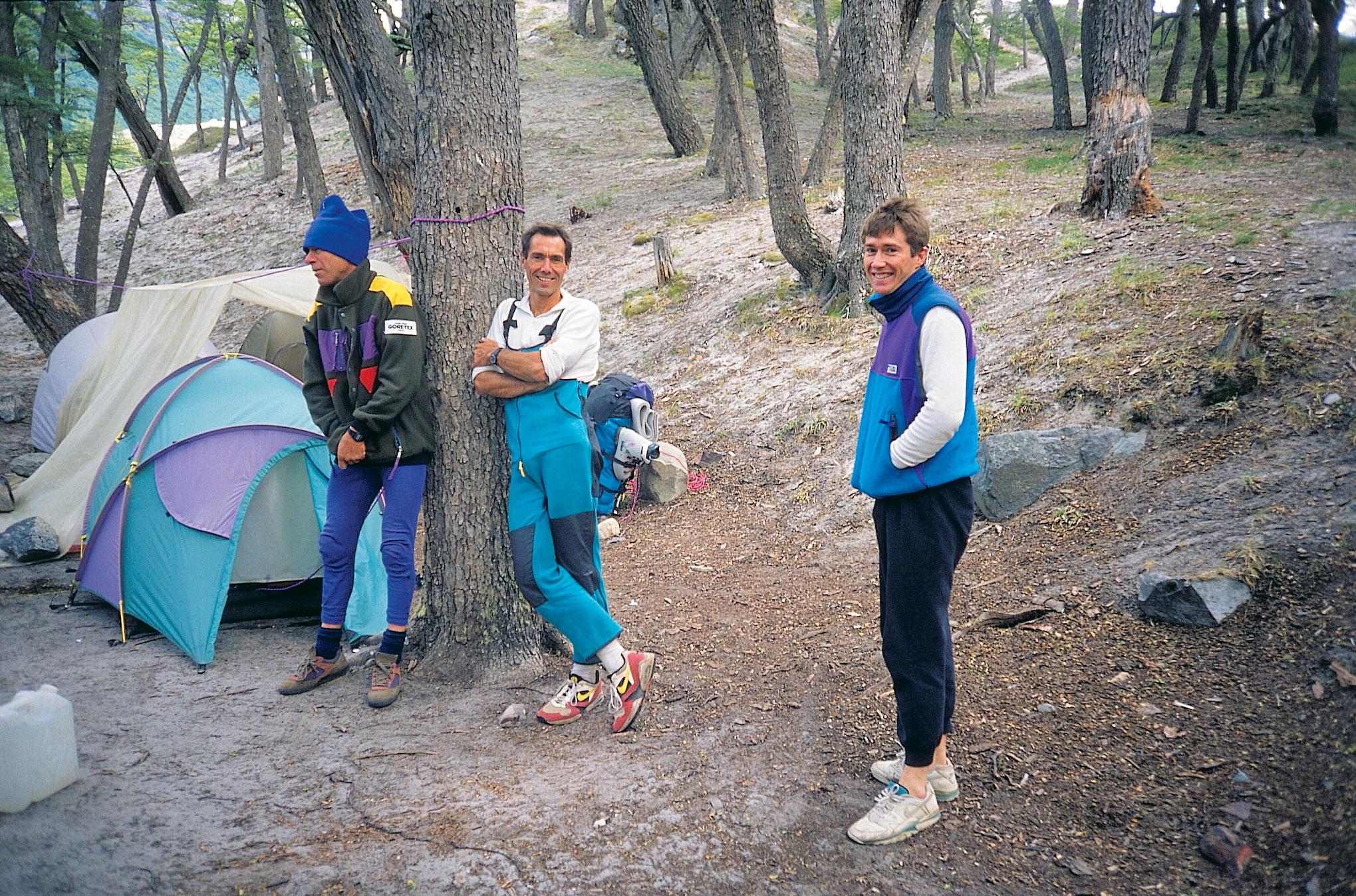 At Cerro Torre base camp, January 1994. L to R: John Fantini, Athol Whimp, Simon Parsons.