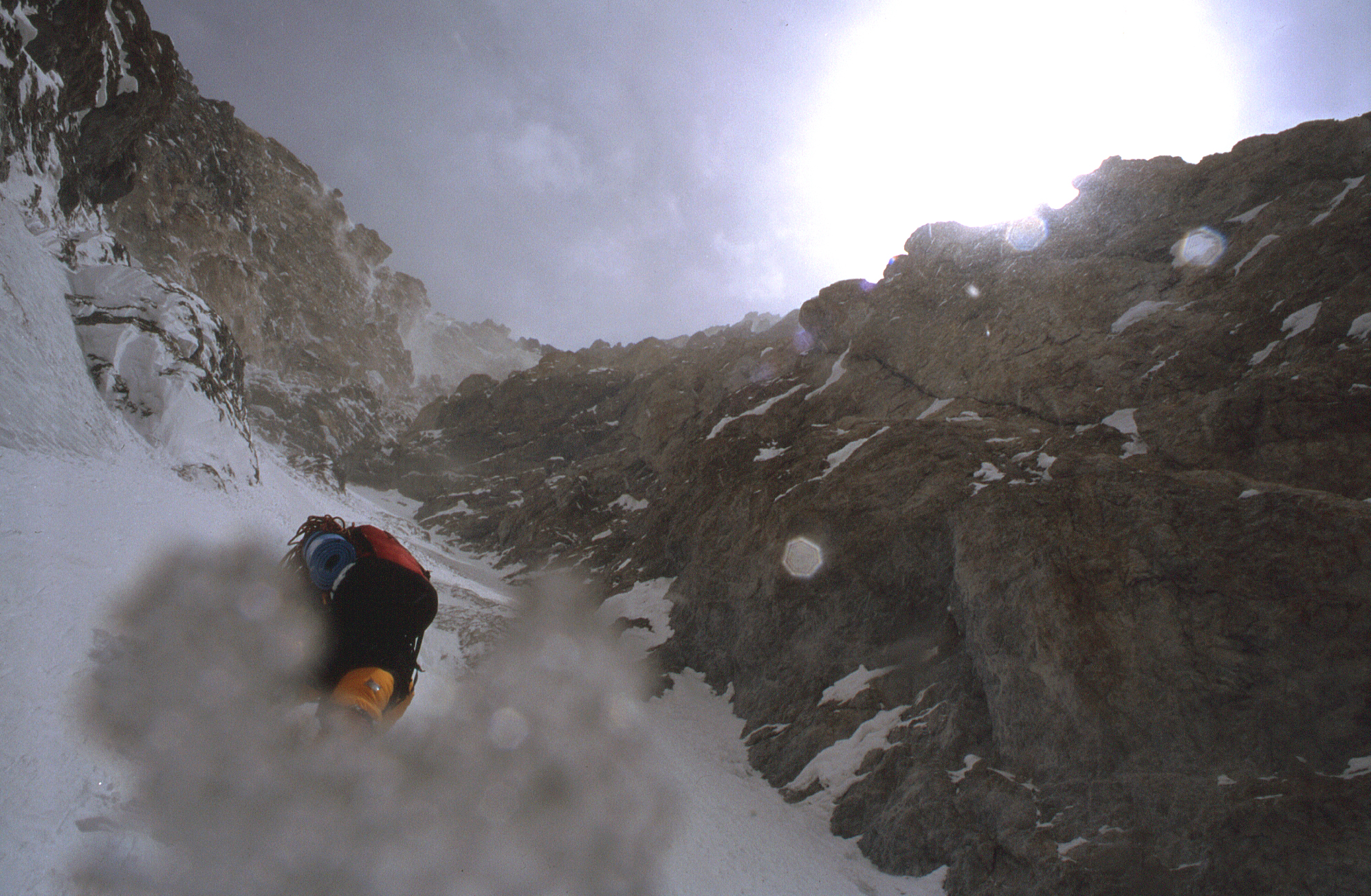 Athol at the top of the first couloir in worsening weather.