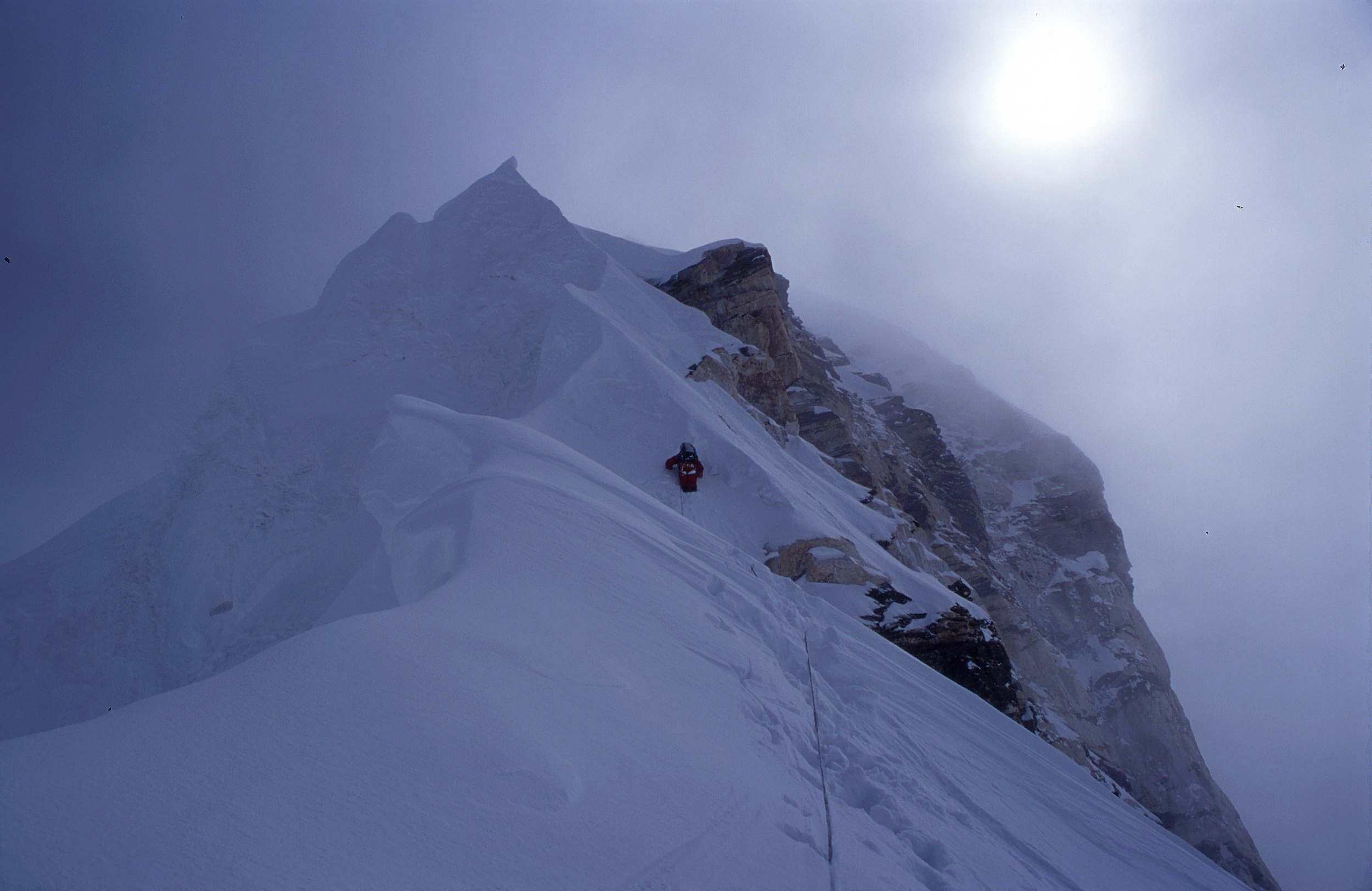Bad conditions at ca. 7500m. We spent the night just left of the rock buttress.