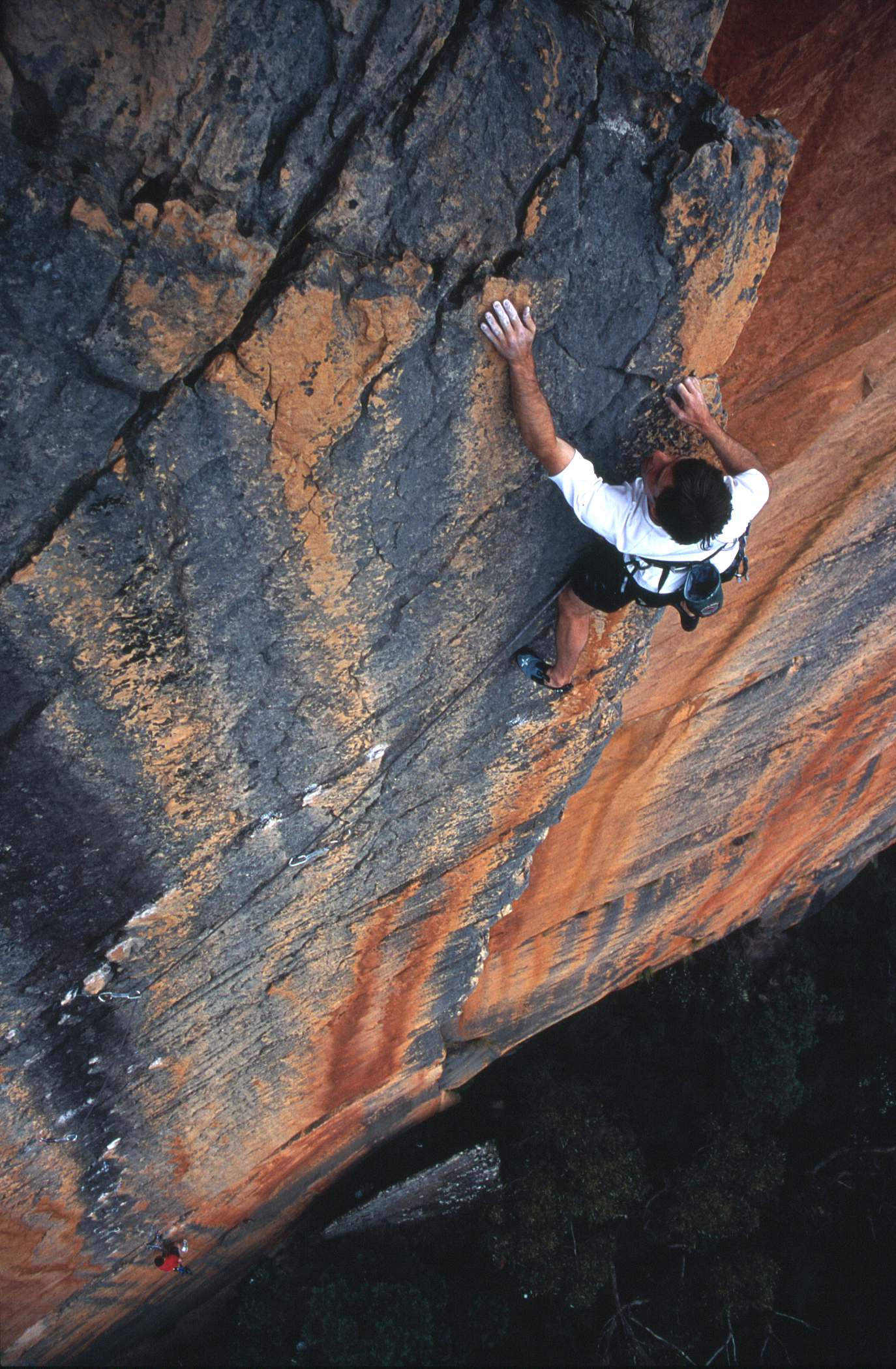 """At the top of the first pitch of """"Archimedes' Principle"""" (25), Eureka Wall, Grampians, 2004. Photo: Athol Whimp."""