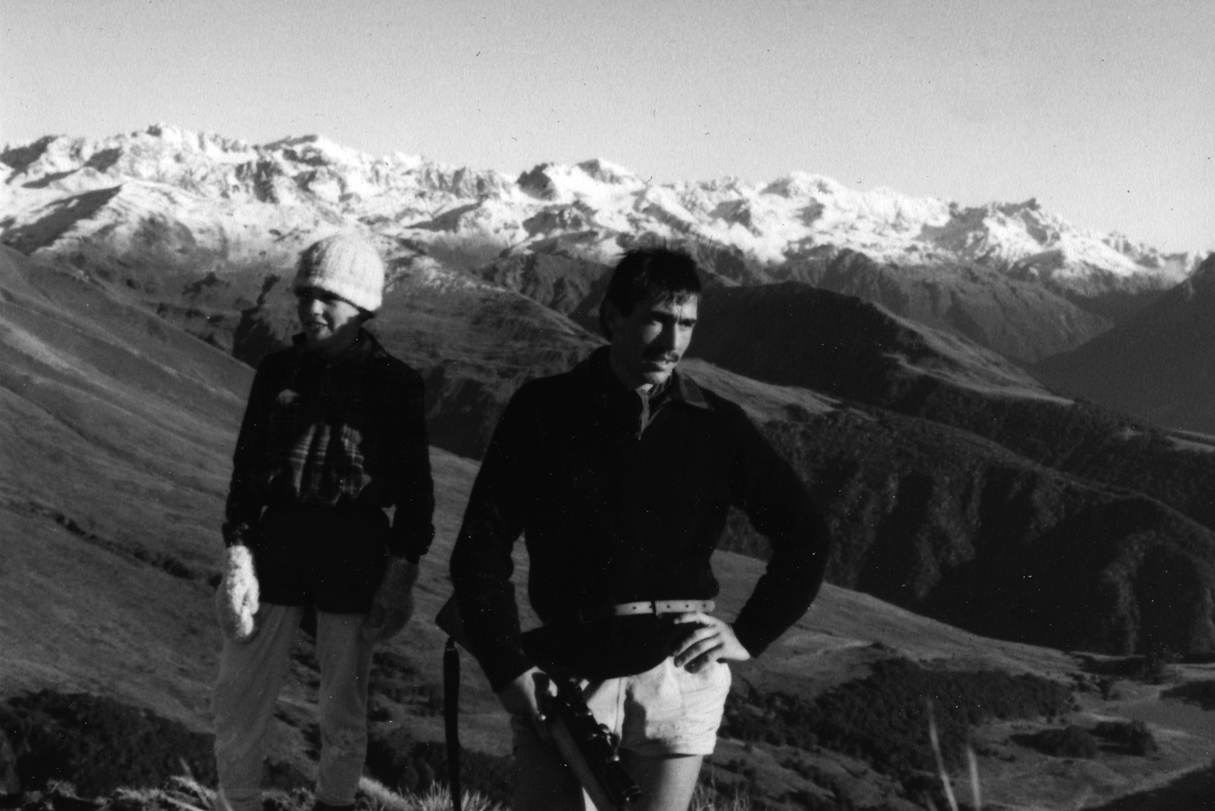 Athol with his brother Tristram at Broad Saddle, Arthur's Pass area, New Zealand, 1980.