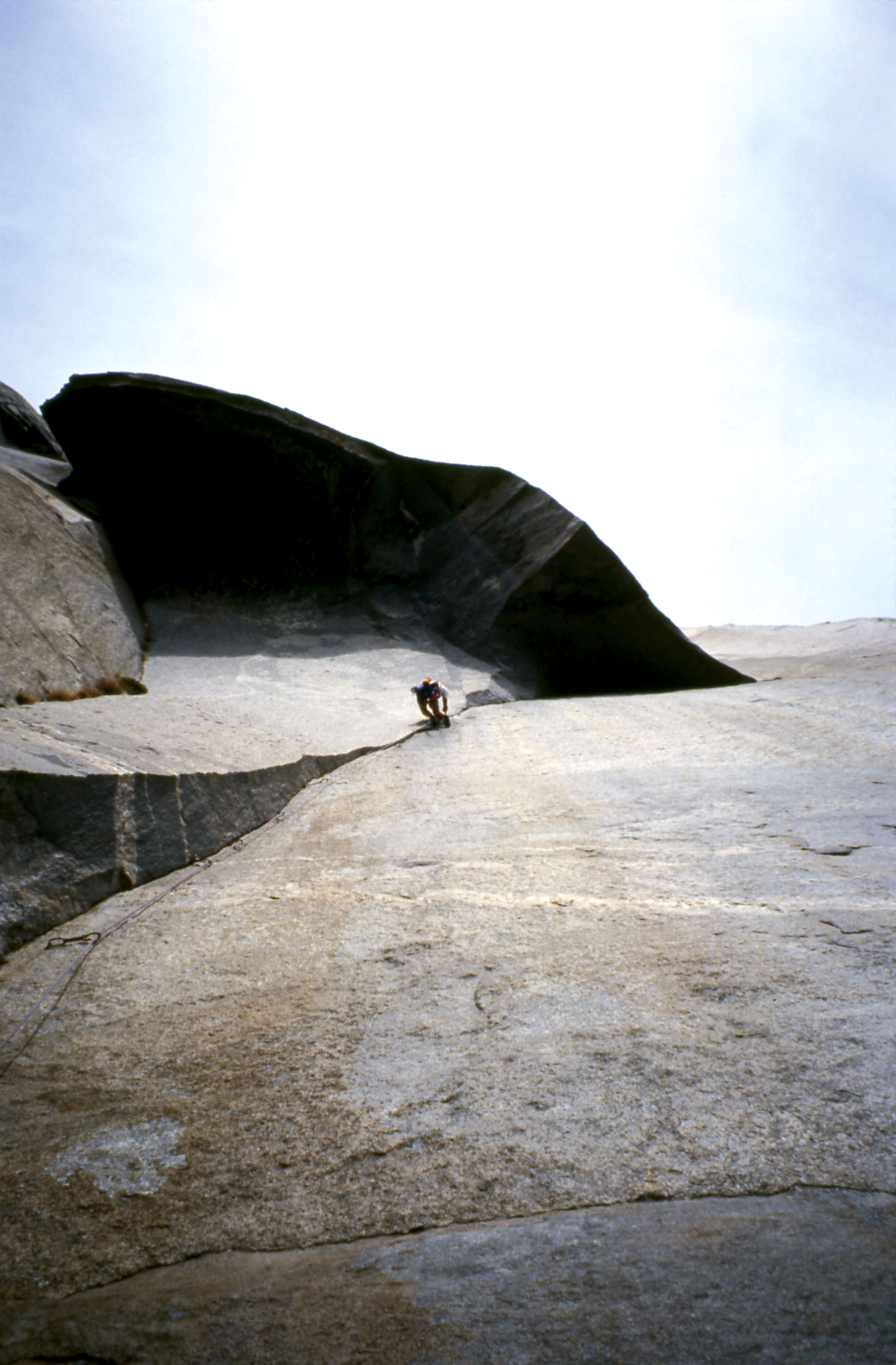 Athol dealing to the Great Roof pitch of The Nose, El Capitan during a 15 hour ascent in 1994.