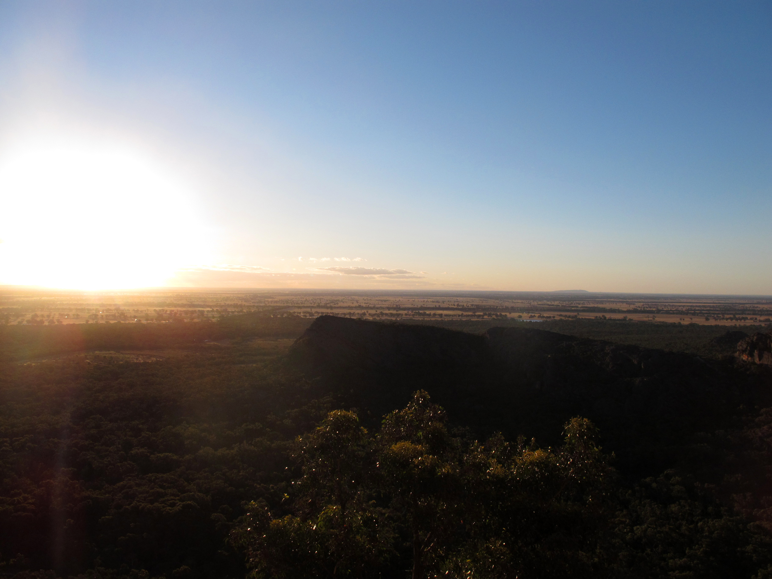 Looking west from Taipan Wall, Grampians, summer 2012. Mt. Arapiles is on the horizon.