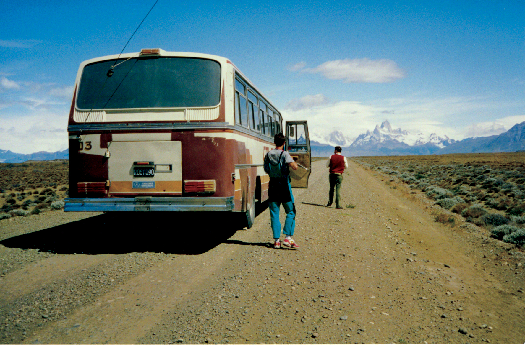 On the road to El Chalten as the unmistakable Fitz Roy looms in the distance, December 1993.