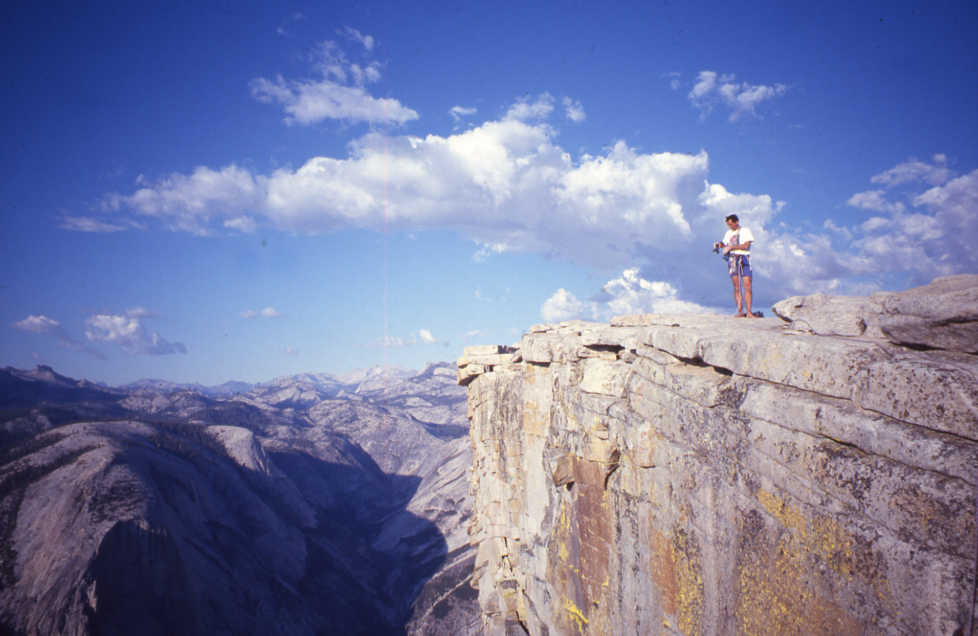 Athol on top of Half Dome after we made a free ascent of the northwest face, Regular Route, 1994.