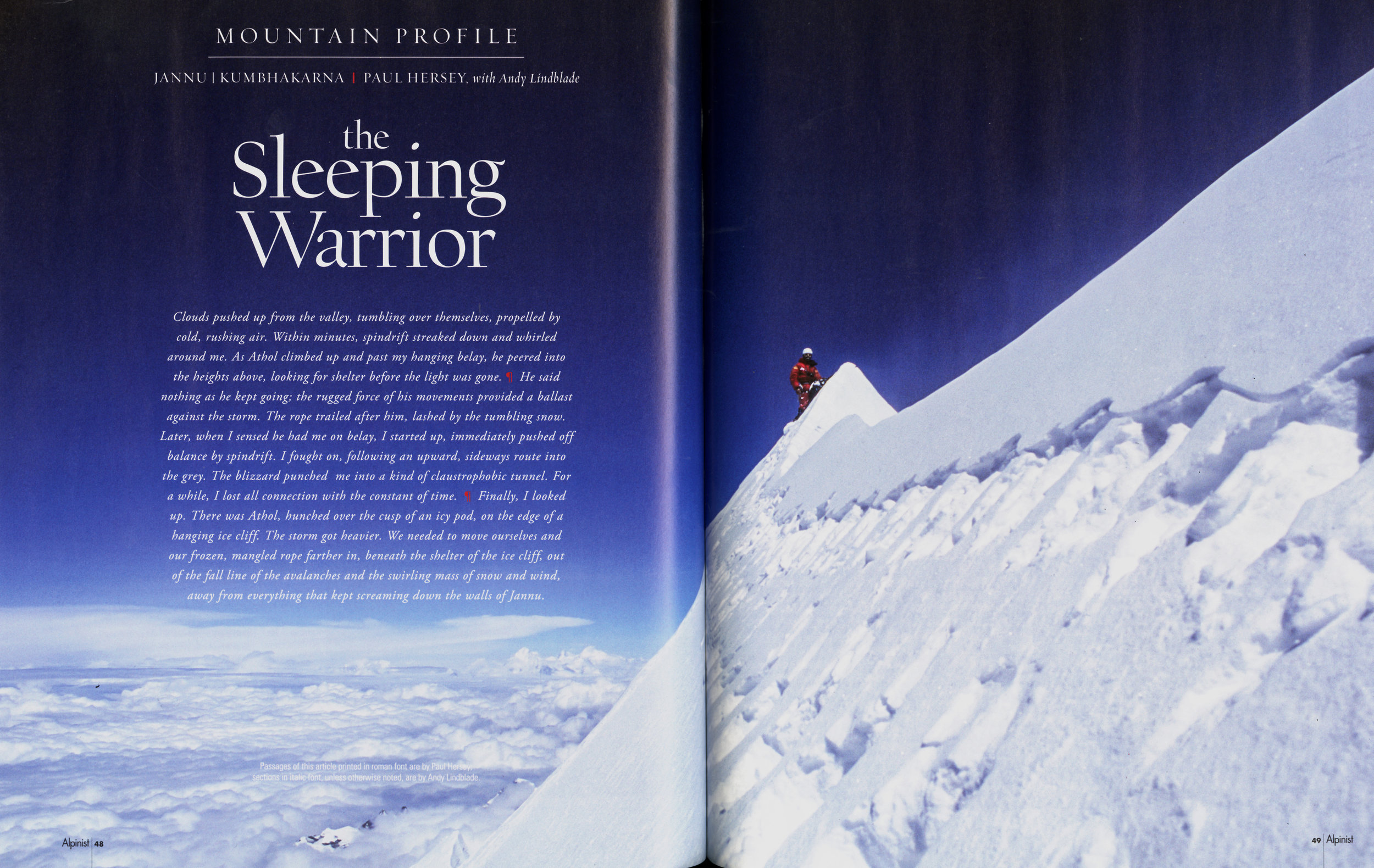My photo of Athol on the summit of Jannu, from the opening spread from the Alpinist 57 profile on Jannu.