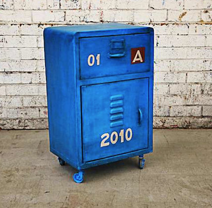 Blue industrial cabinet by Holy Funk Furniture