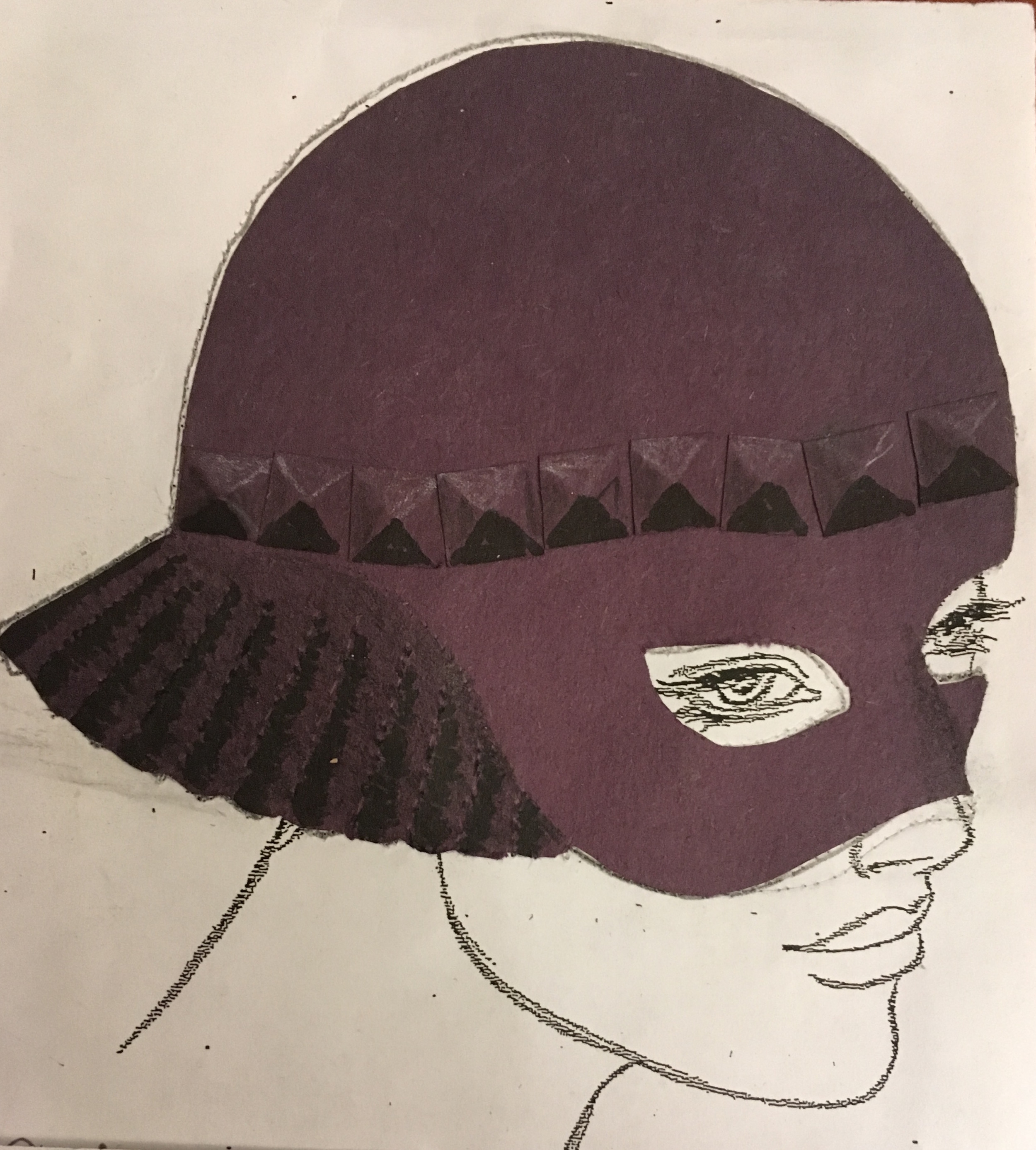 The hat that Sam designed this week in her millinery class to complement . . . .