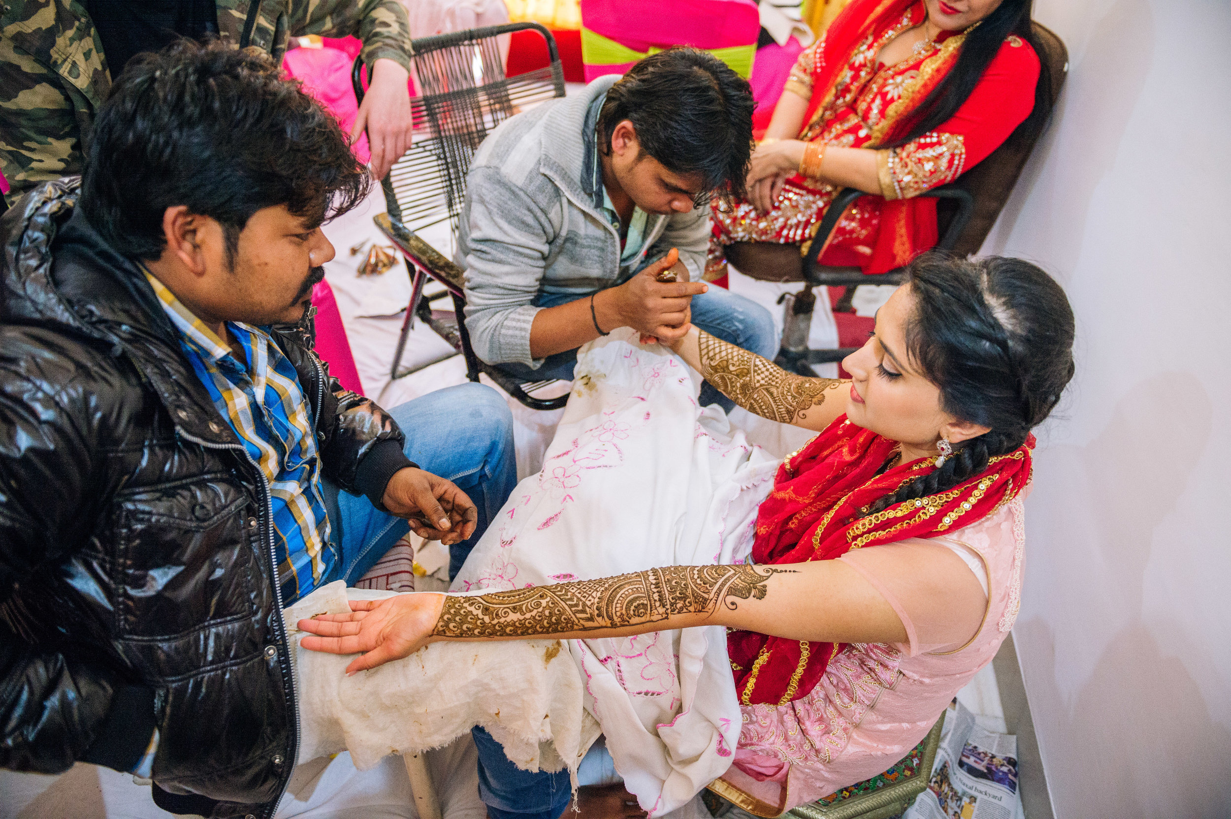 The bride-to-be's mehendi is the most intricate and most time consuming to execute hence the need for 2 professional mehendi artist for this bride-to-be.