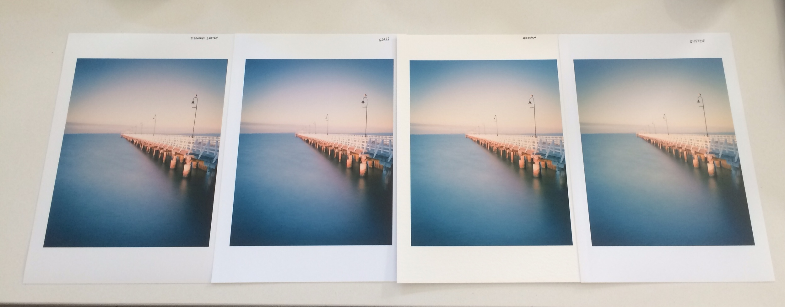 Shorncliffe Pier - Left to right on Titanium Lustre, Gloss, Museum and Oyster papers