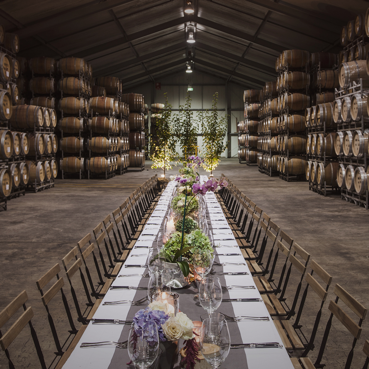 St. Hakea winery wedding barrel room