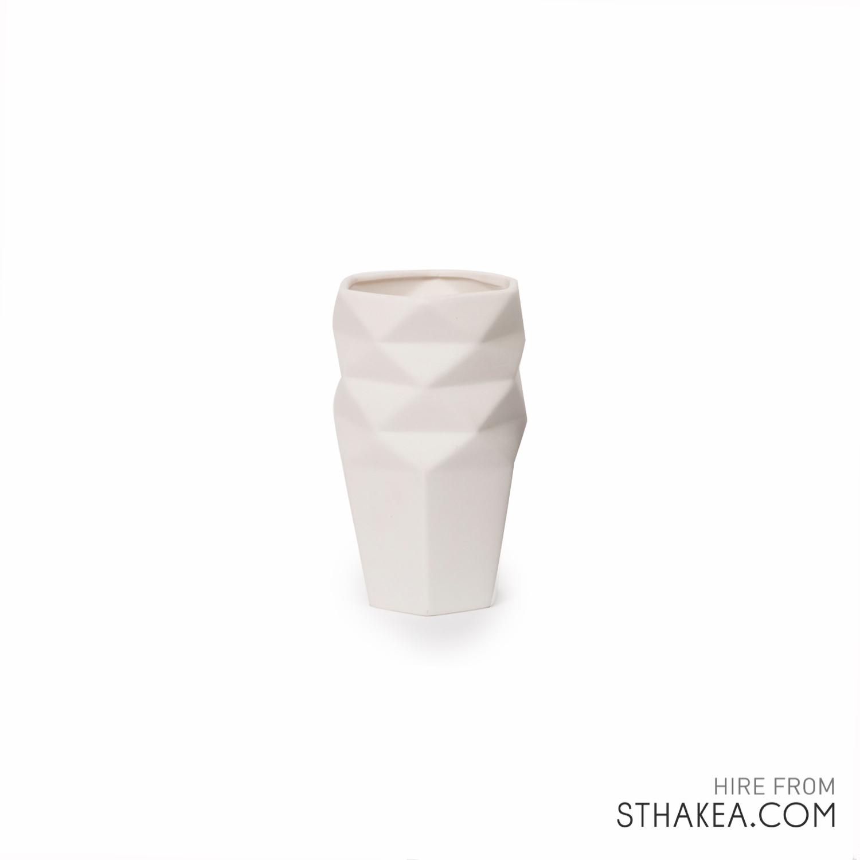 St Hakea Melbourne Hire White Origami Vase.jpg
