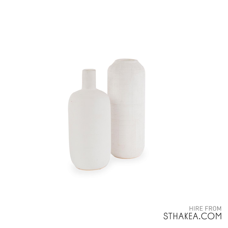 St Hakea Melbourne Hire White Textured Vases.jpg