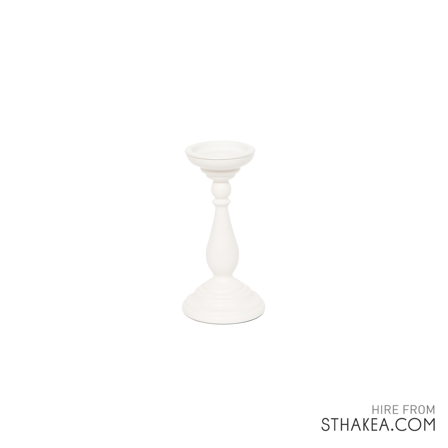 St Hakea Event Hire Melbourne Small White Wooden Candlestick.jpg