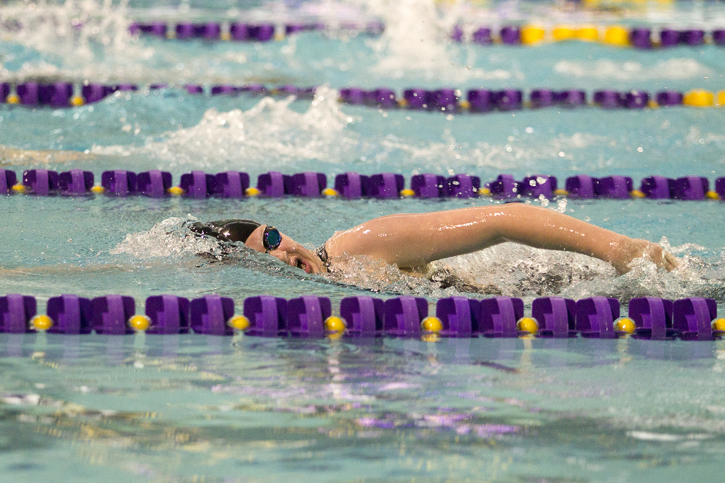 Campbell County High School swimmer McKenna Hauber swims in the second heat of the Girls 200 Yard Freestyle Friday. The state girls swim and dive championships are being held at the Aquatic Center.