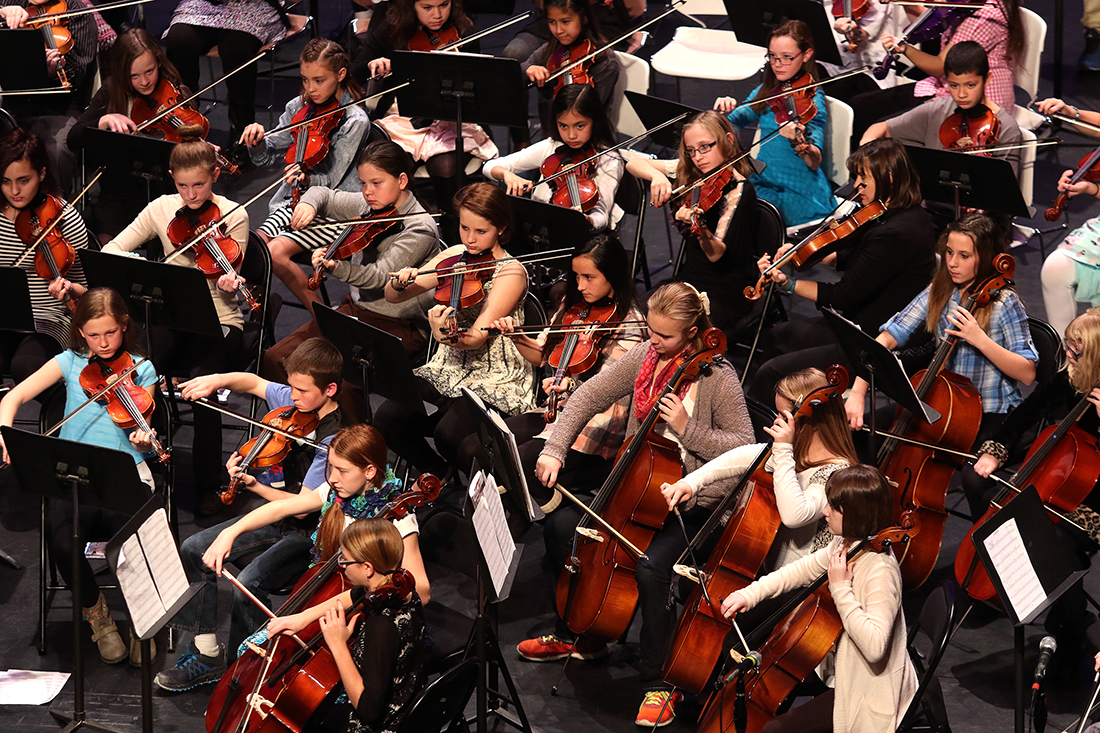 Members of the combined sixth grade string orchestra, from 12 local elementary schools, perform Tuesday January 12, 1016 at the Campbell County School District Strings Gala at the Cam-plex Heritage Center. The gala featured students from sixth grade through high school as well as additional accompaniments by teachers and staff.